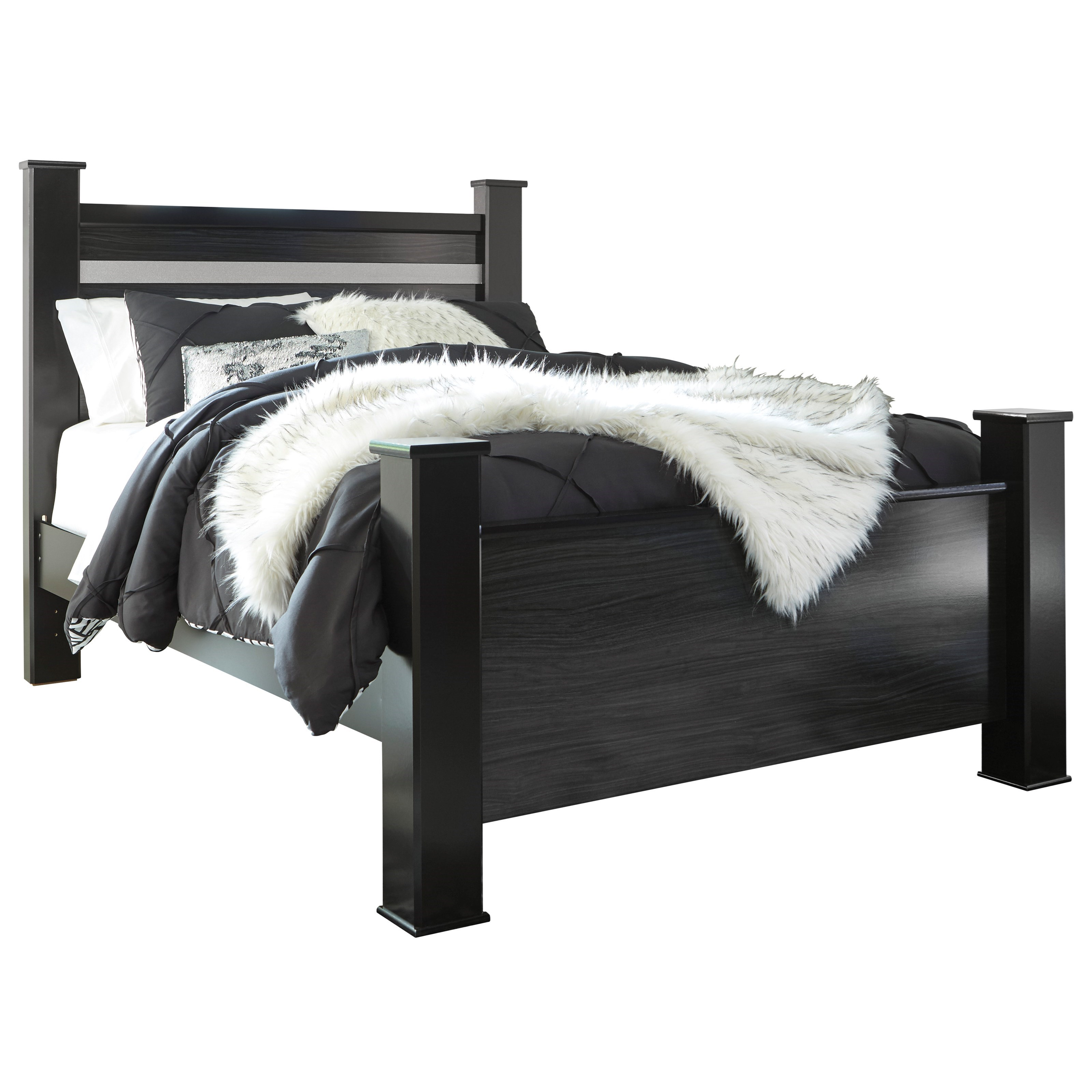 Signature Design By Ashley Starberry Black Finish Queen Poster Bed With Glitter Accent Panel A1 Furniture Mattress Panel Beds
