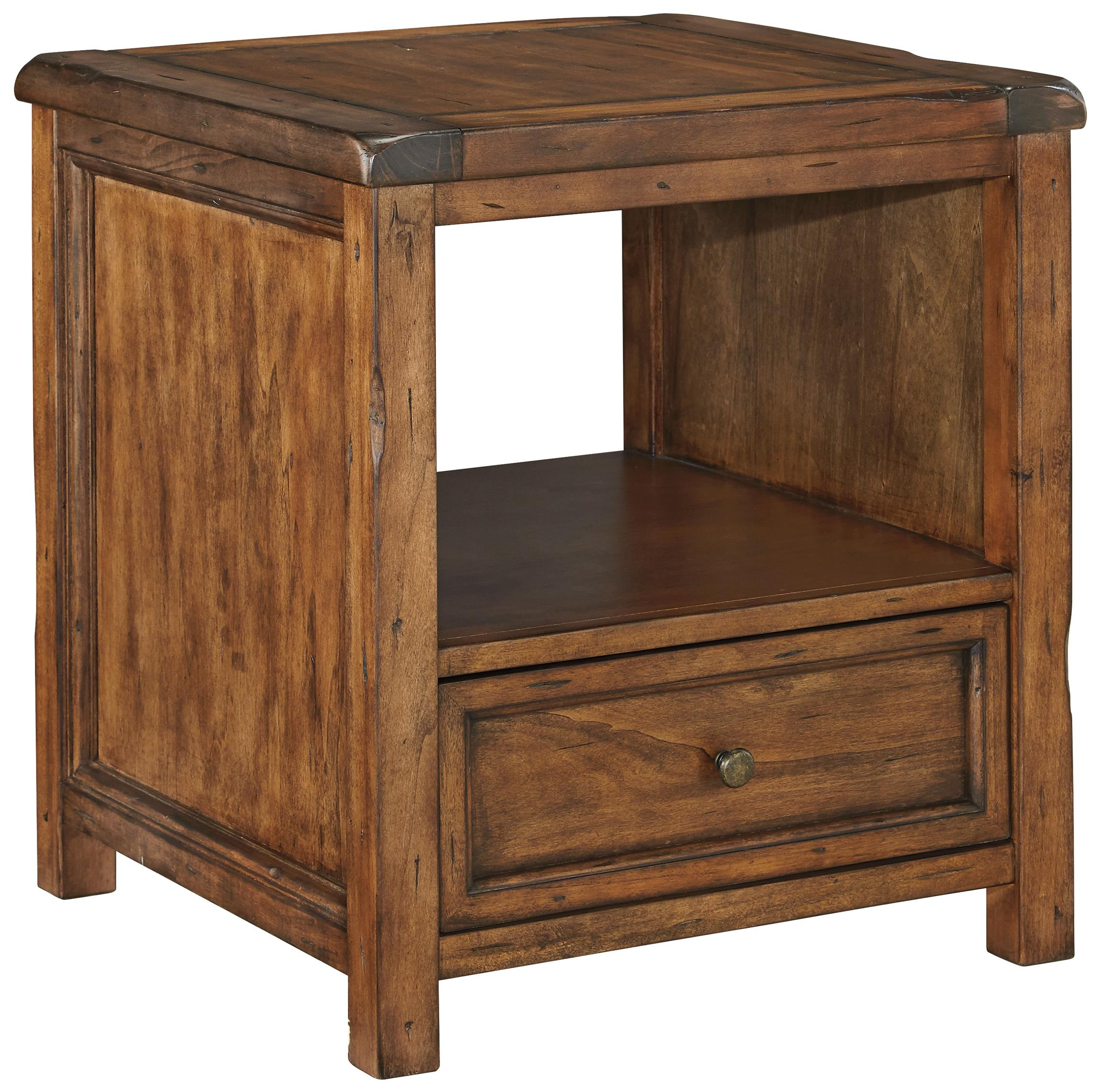 Rustic Wood End Table Tamonie Rustic Square End Table With Shelf And Drawer By Signature Design By Ashley At Sam Levitz Furniture