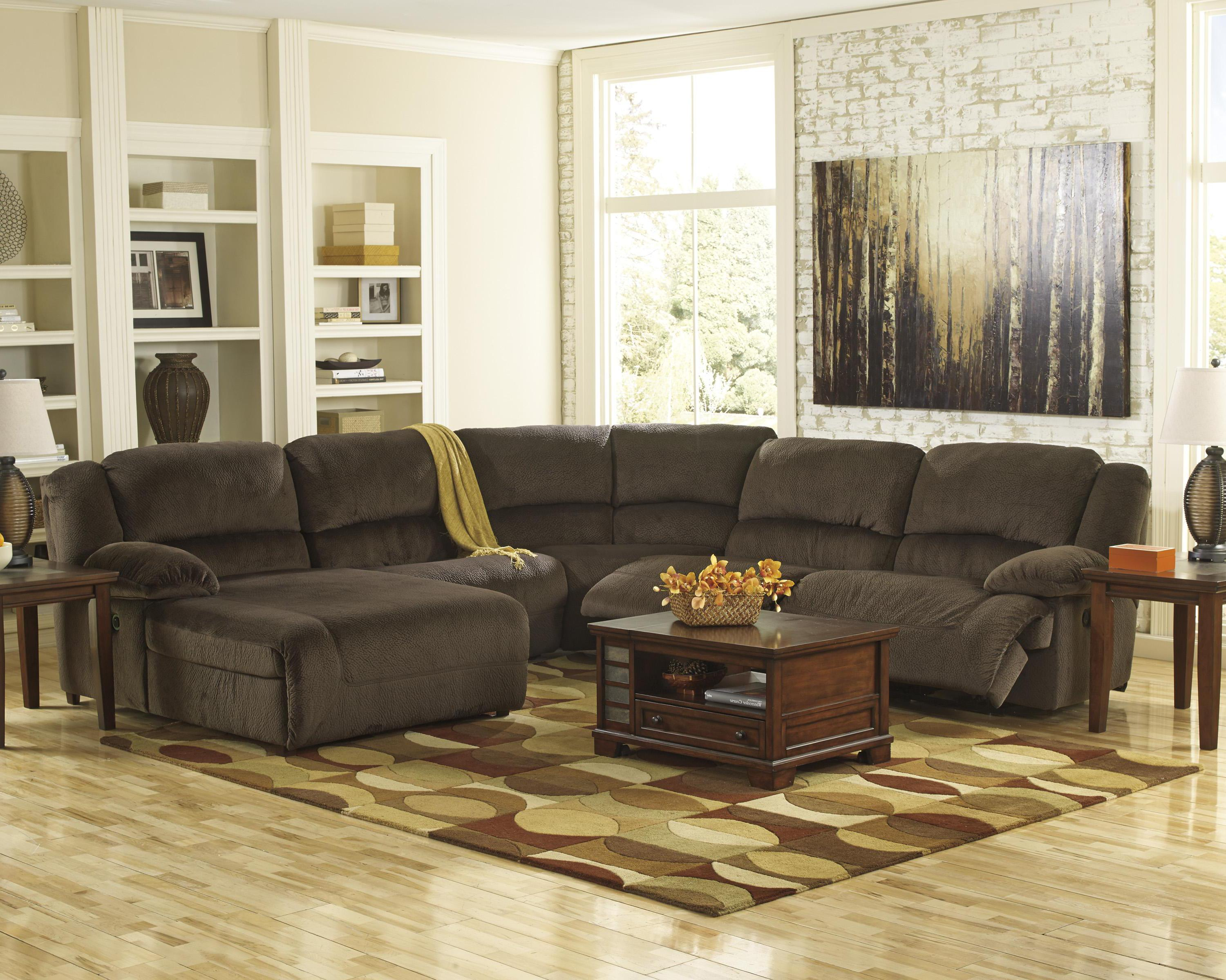 furniture ashley vista chocolate casual 3 piece sectional with of opelousas la 2 7