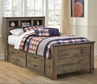 Tate Rustic Look Twin Bookcase Bed with Under Bed Storage ...