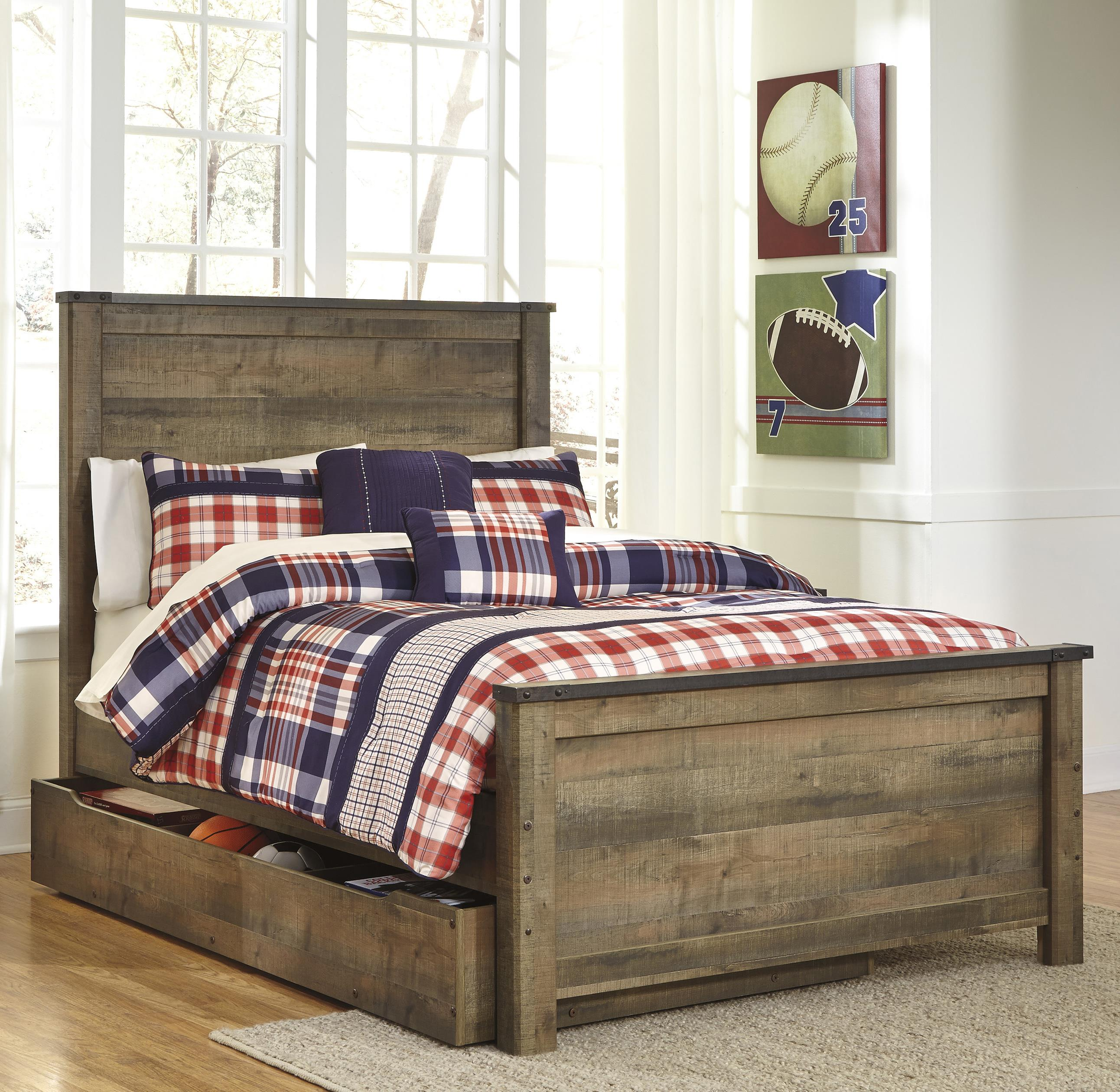 Under Bed Storage Frame Trinell Rustic Look Full Panel Bed With Under Bed Storage Trundle By Signature Design By Ashley At Beck S Furniture