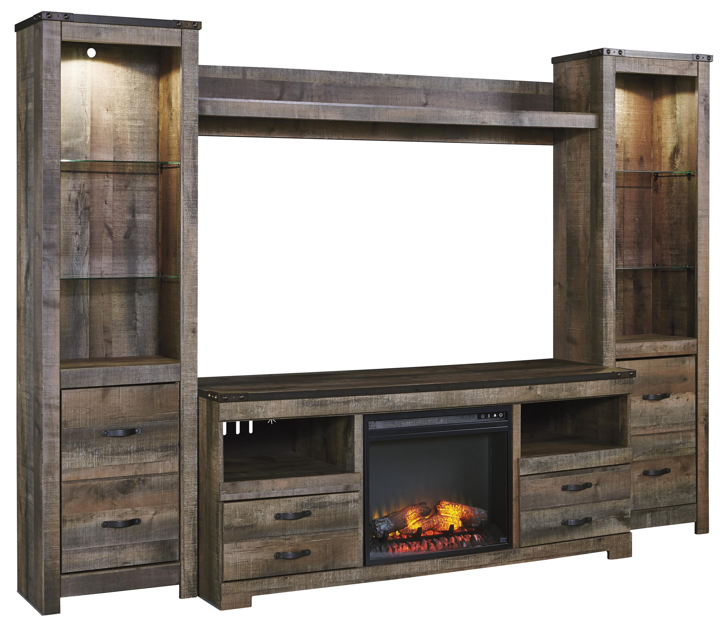 Large Wall Units For Living Room Urban Rustic Rustic Large Tv Stand W Fireplace Insert 2 Tall Piers Bridge By Signature Design By Ashley At Rotmans