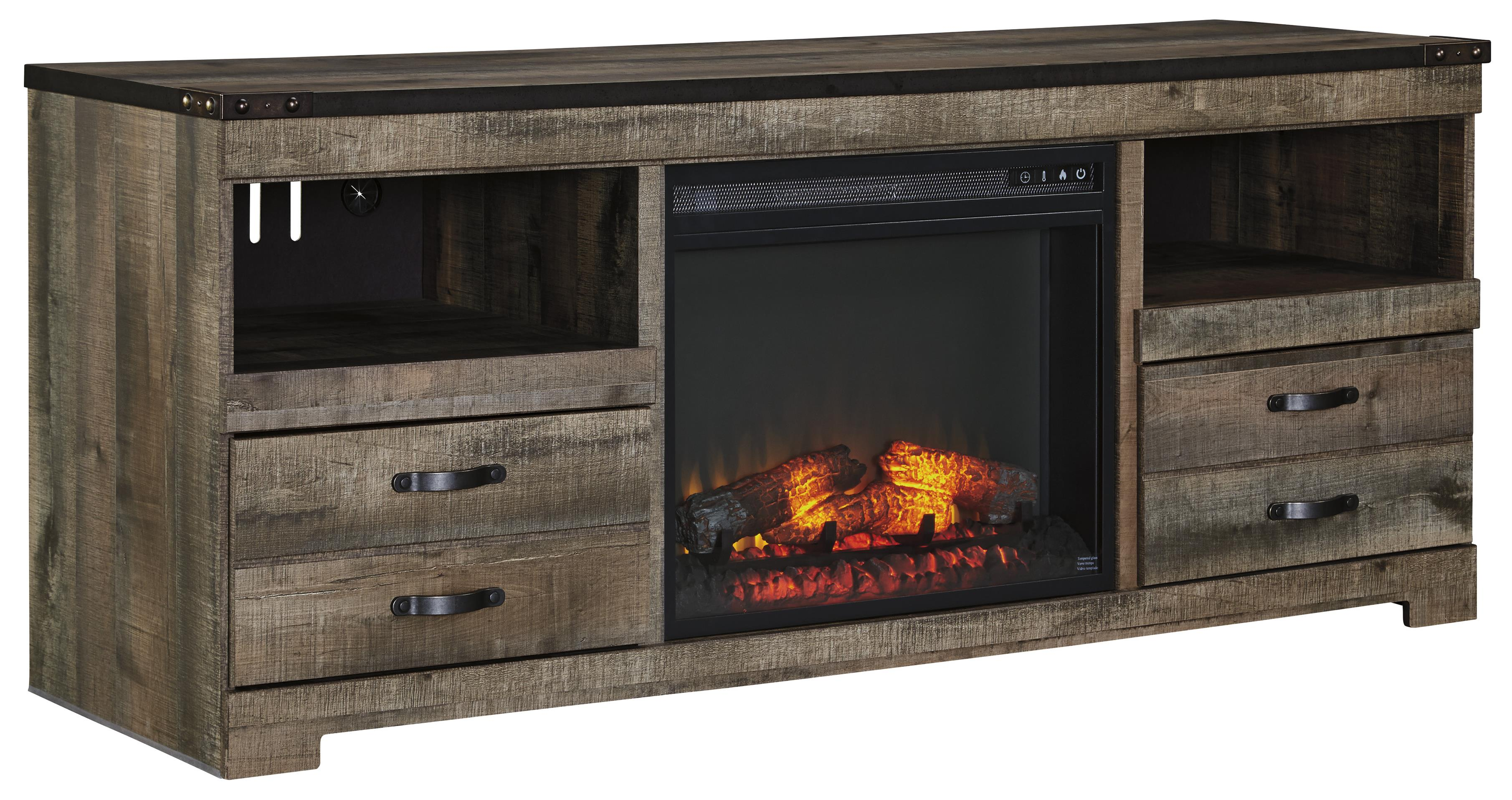 Signature Design By Ashley Trinell Rustic Large Tv Stand