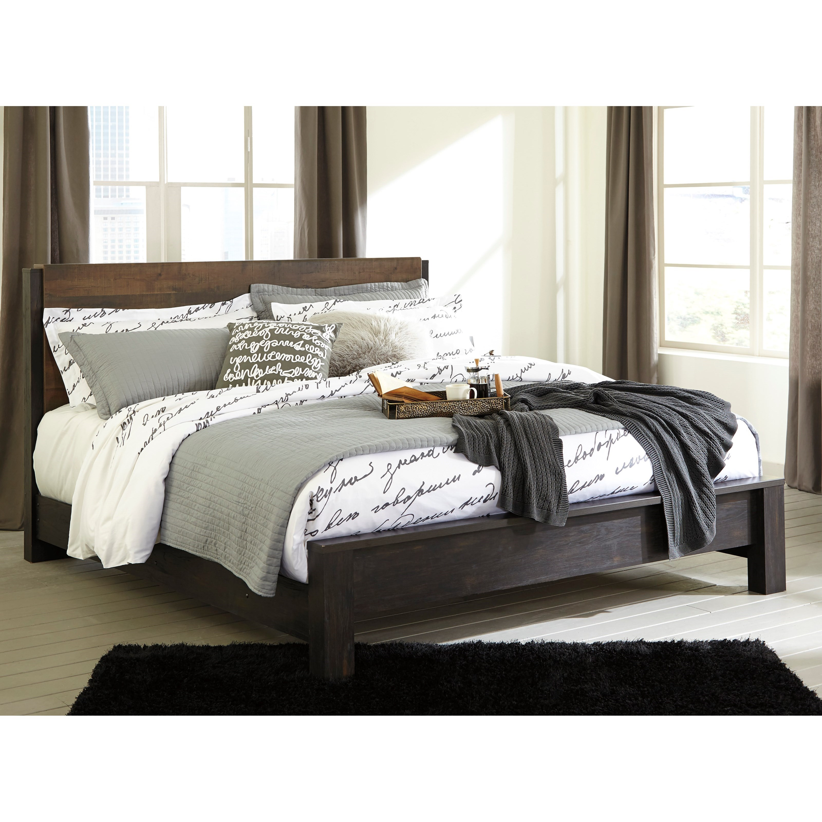 Modern Bed Frame Design Windlore Modern Rustic King Panel Bed By Signature Design By Ashley At Wayside Furniture