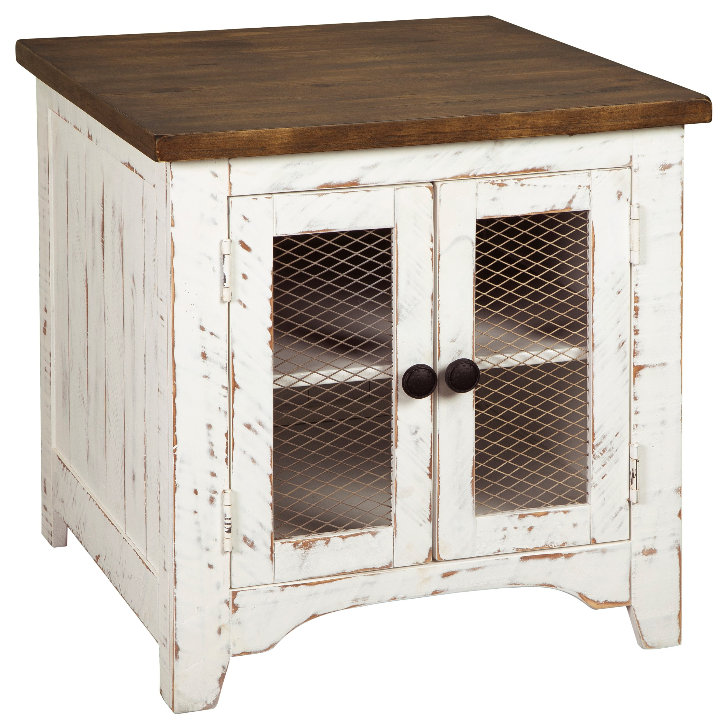 End Table For Living Room Wystfield Farmhouse Rectangular End Table With Two Tone Finish By Signature Design By Ashley At Houston S Yuma Furniture