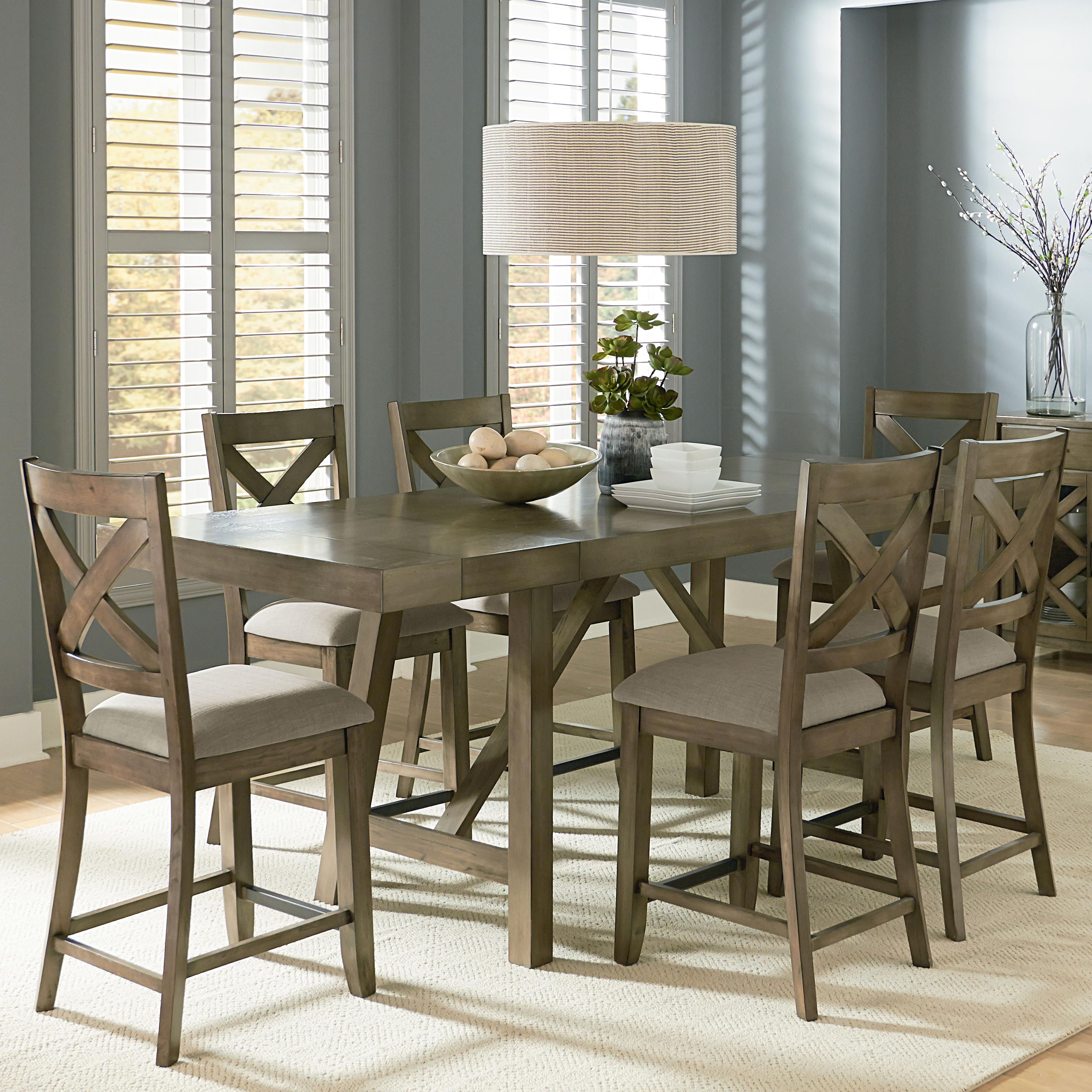 counter height kitchen chairs Standard Furniture Omaha Grey Trestle Table Dining Set Item Number