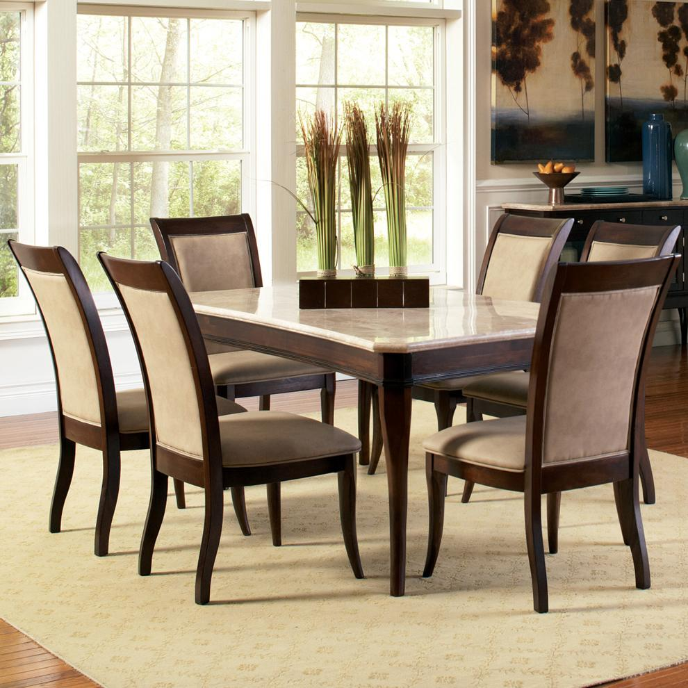 marble top kitchen table Steve Silver Marseille 7 Piece Marble Top Dining Set Item Number MSWT