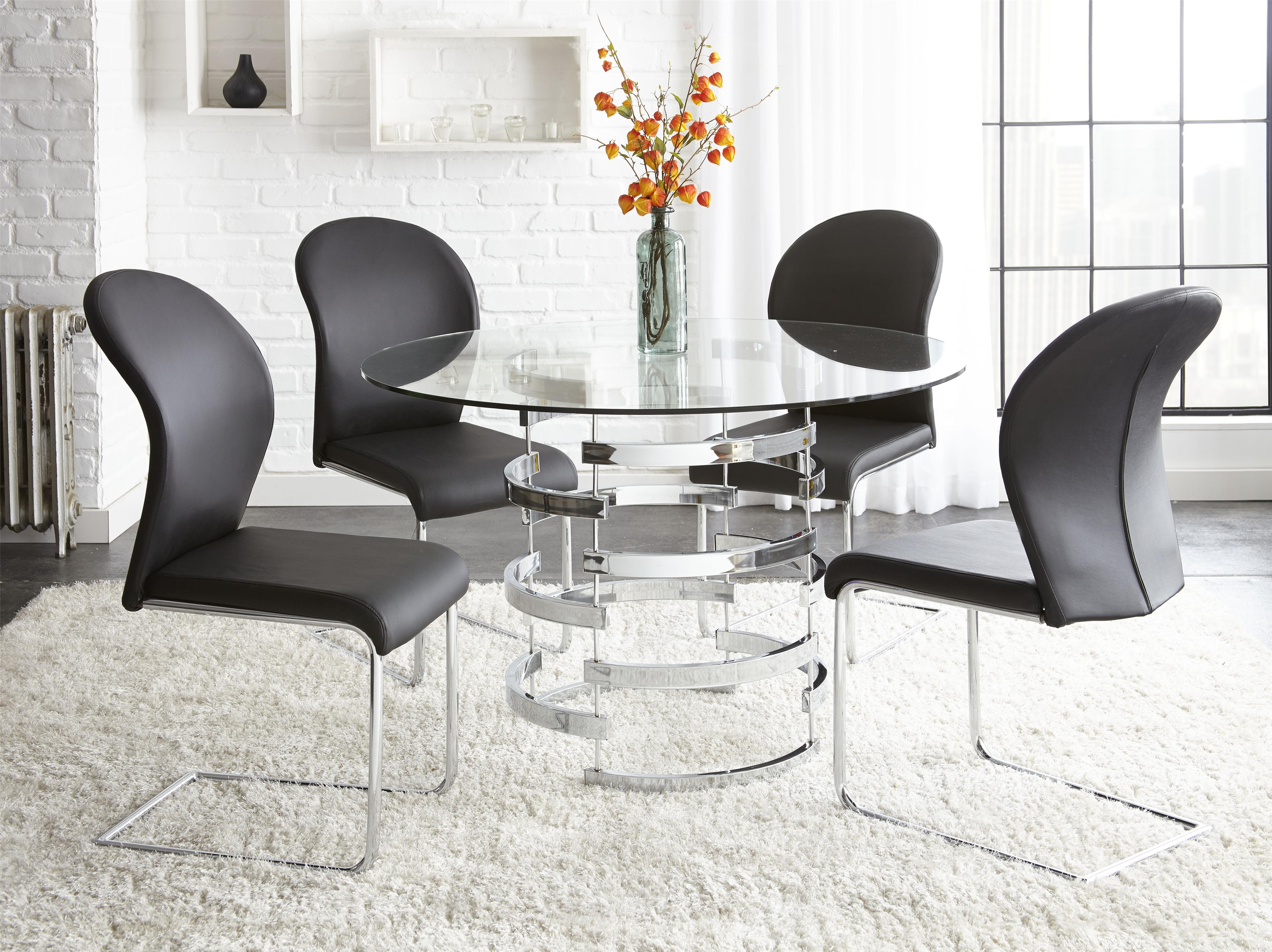 Glass Dining Table And Chairs Tayside 5 Piece Round Glass Table Set With Chrome Pedestal By Steve Silver At Wayside Furniture