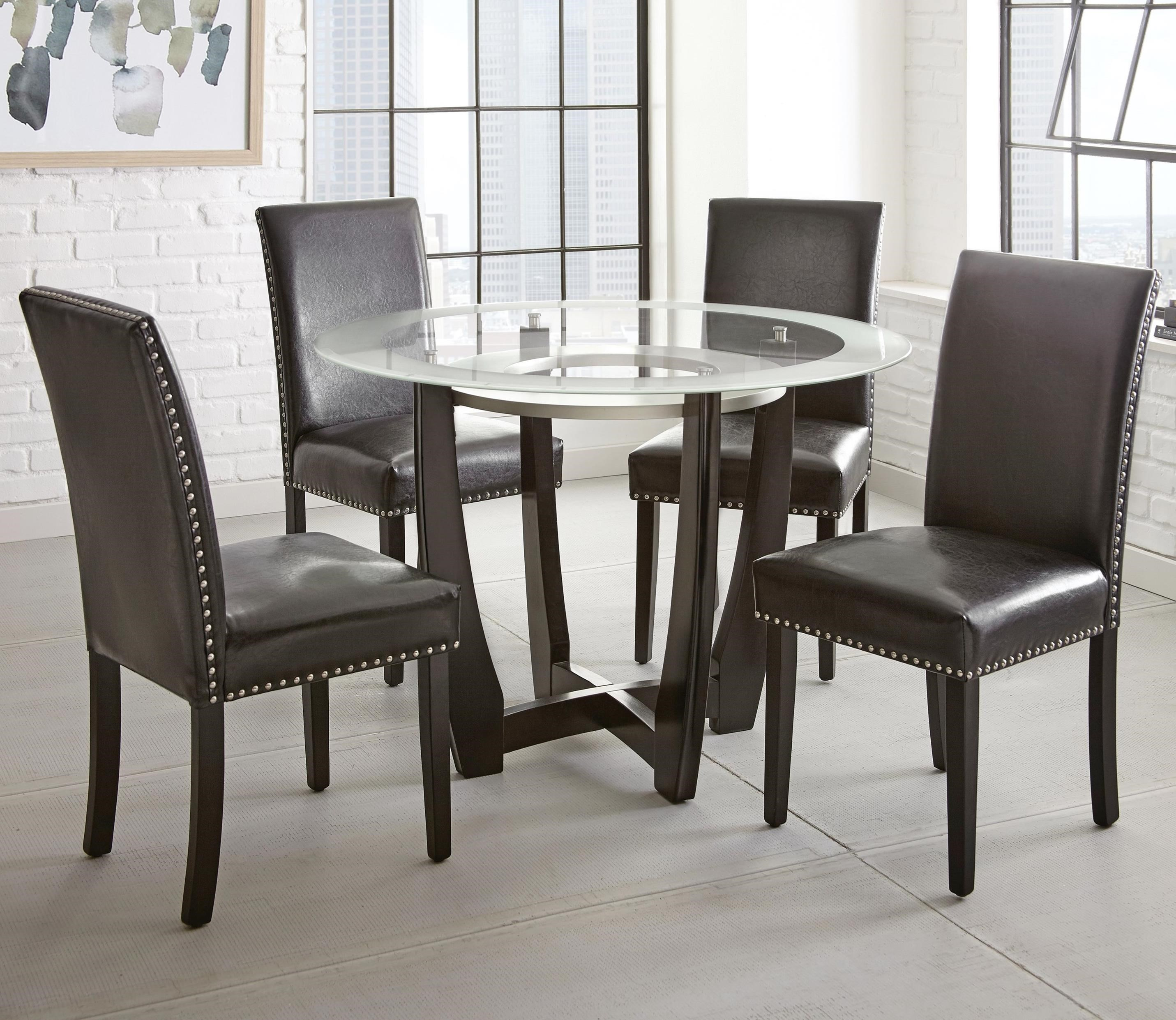 Round Glass Top Dining Table Verano 5pc Contemporary 45