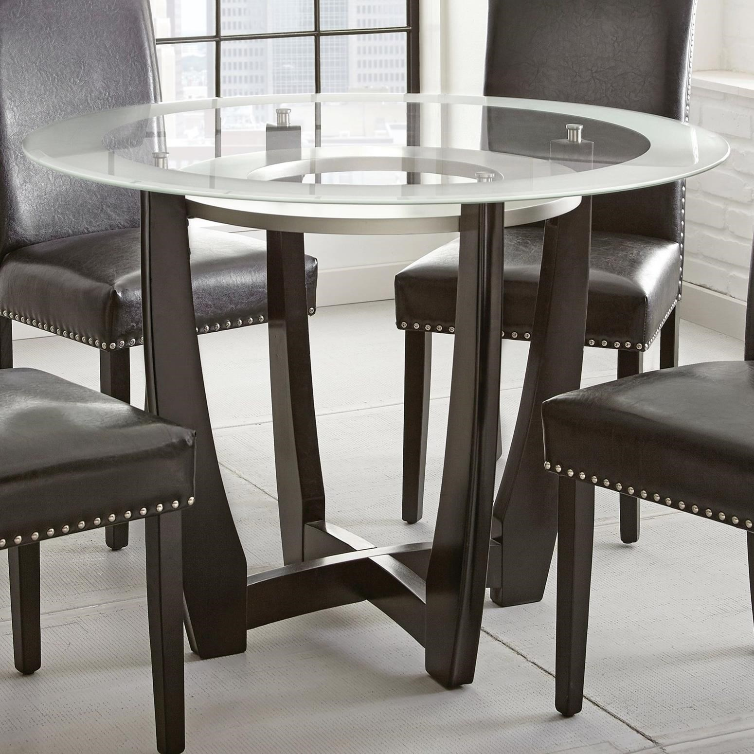 Round Glass Top Dining Table Verano Contemporary 45