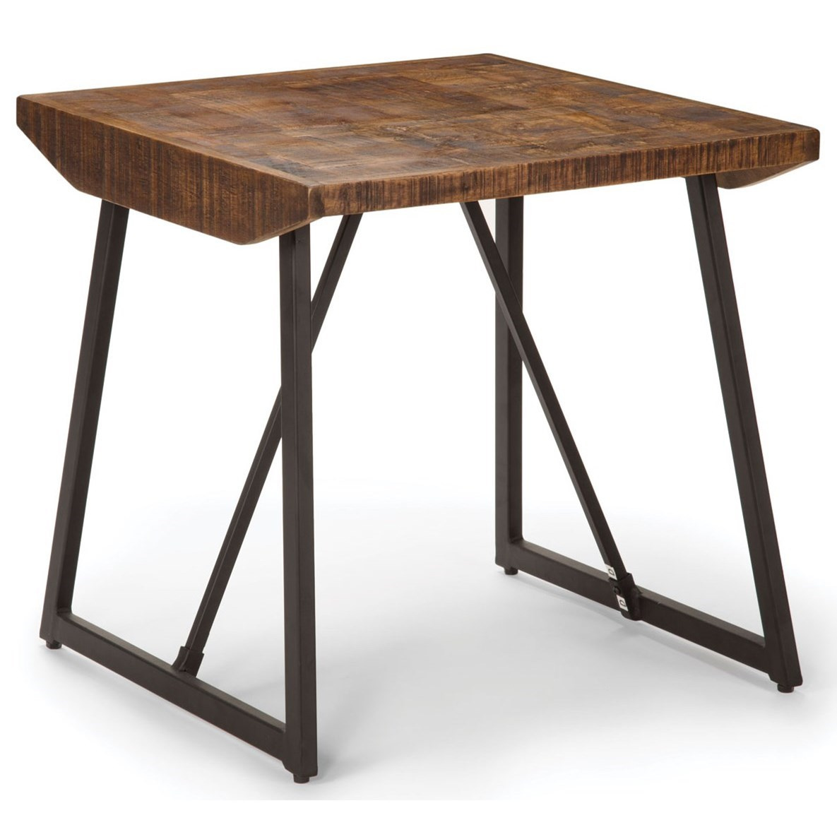 Rustic Wood End Table Walden Rustic Industrial End Table With Parquet Pattern Wood Top By Star At Efo Furniture Outlet