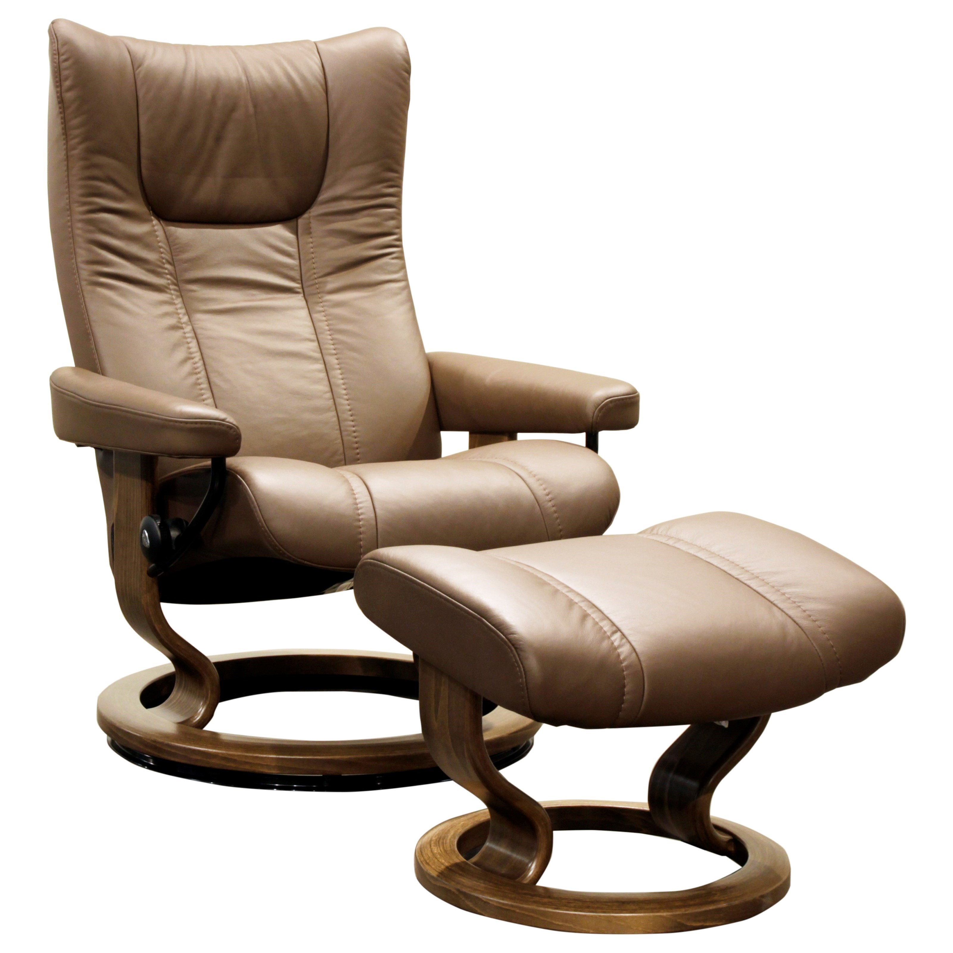 Stressless Wing Classic Legcomfort Stressless Wing Medium Reclining Chair And Ottoman With