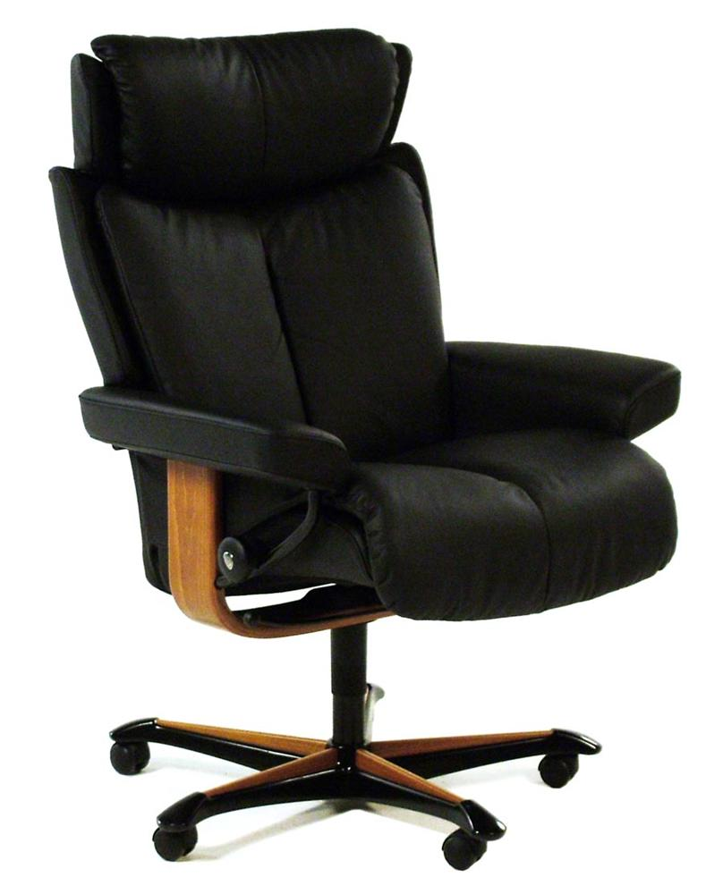 Ekornes Stressless Stressless Office Magic Medium Office Chair Plaoma Black W Teak By Stressless By Ekornes At Rotmans