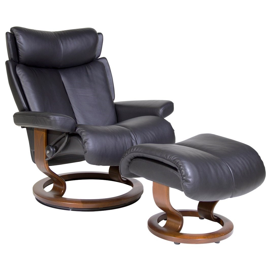 Leather Chairs And Ottomans Sale Magic Large Reclining Chair Ottoman With Classic Base By Stressless At John V Schultz Furniture