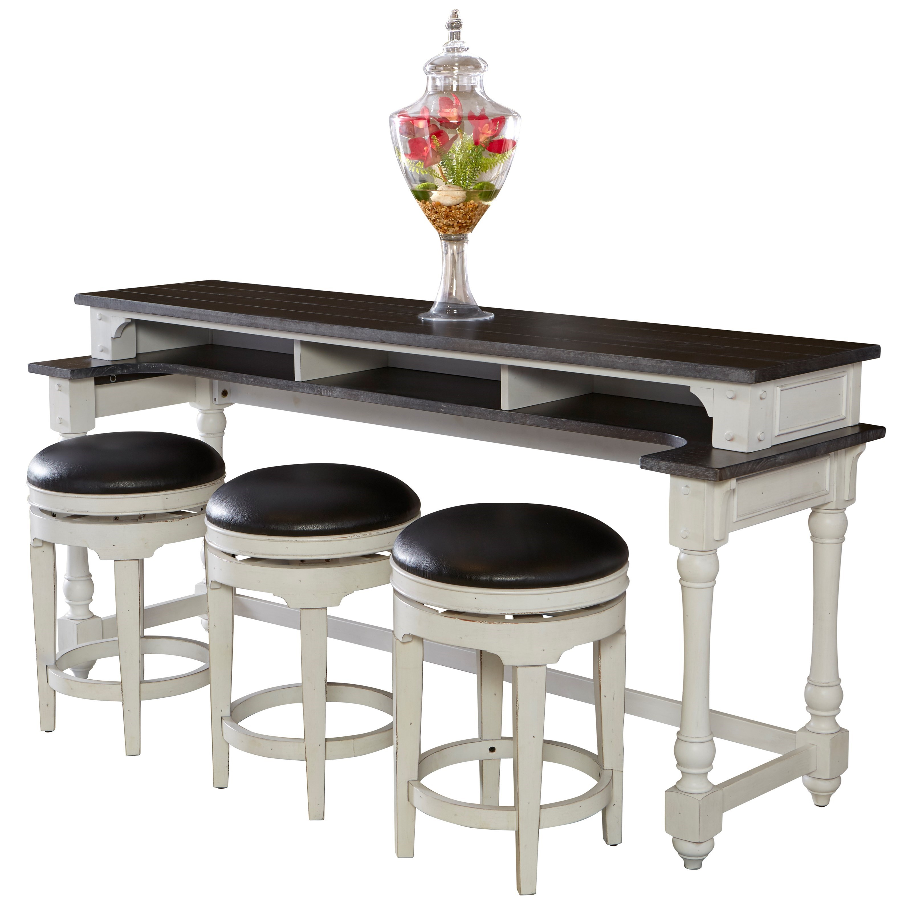 Table And Bar Stools Carriage House 4 Piece Counter Height Bar Table Set With Sofa Table And Swivel Stools By Sunny Designs At Suburban Furniture