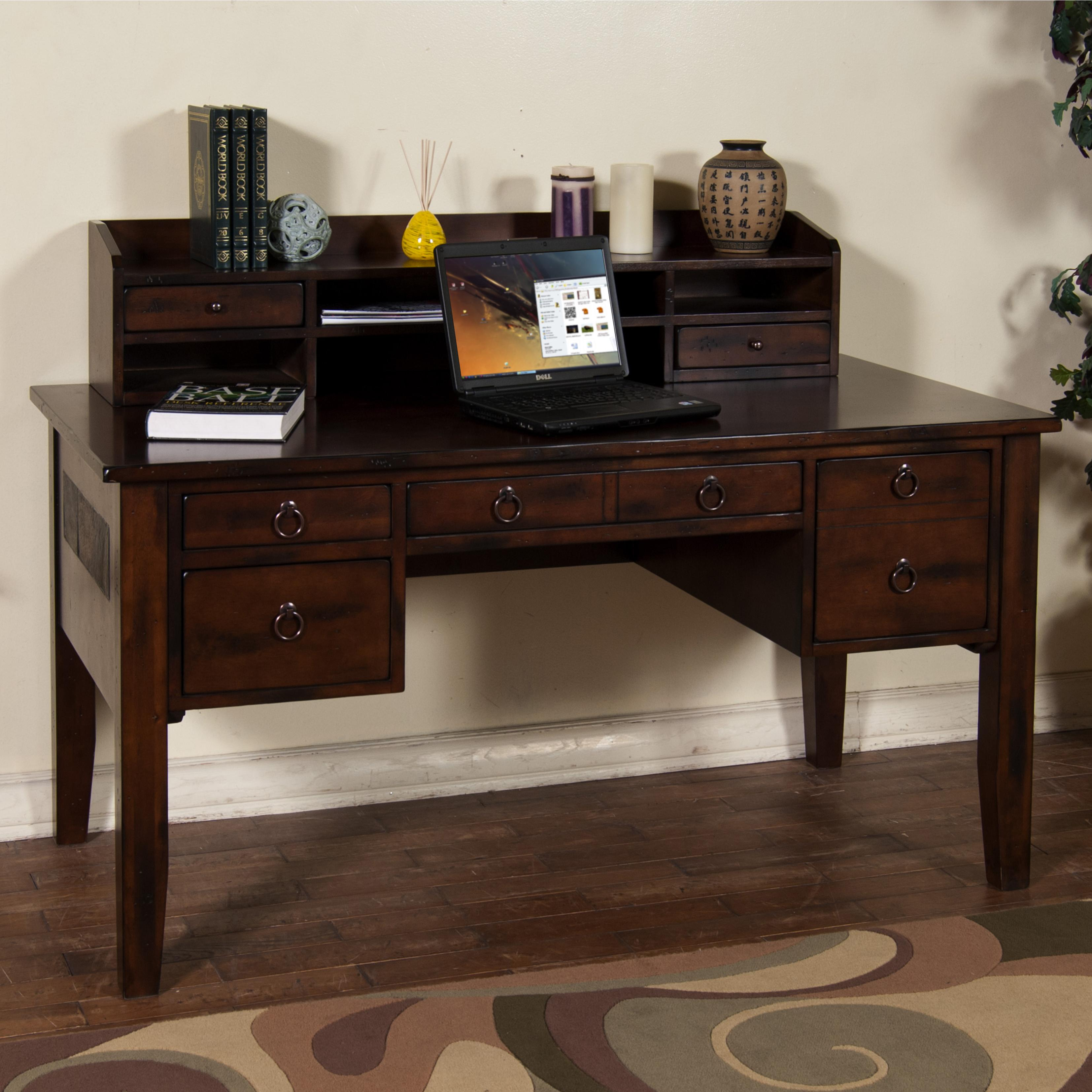 Desks With Drawers Santa Fe Writing Desk With Keyboard Drawer Hutch By Sunny Designs At Suburban Furniture