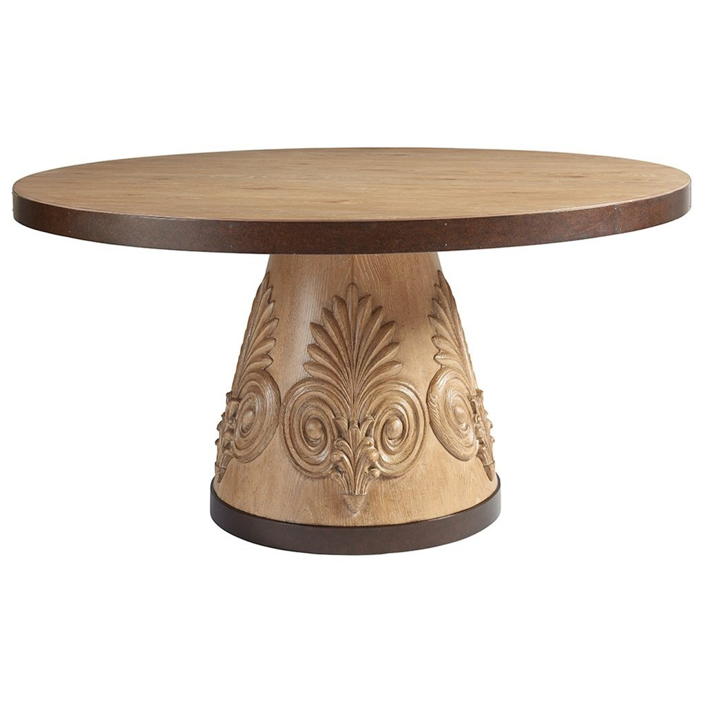 Round Oak Dining Table Los Altos Weston Round Oak Dining Table With Carved Acanthus And Bronze Trim By Tommy Bahama Home At Baer S Furniture