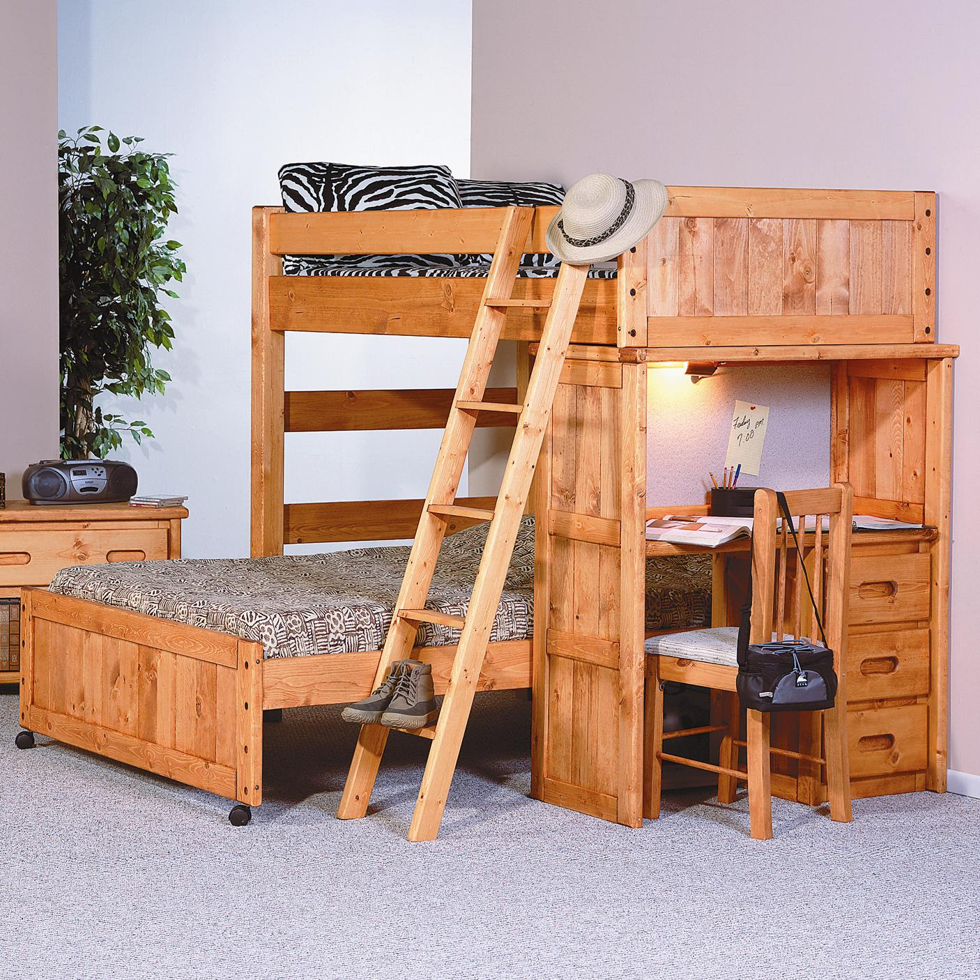 Bed With Desk Bunkhouse Twin Full Roundup Loft Bed With Desk End Compartment By Trendwood At Conlin S Furniture