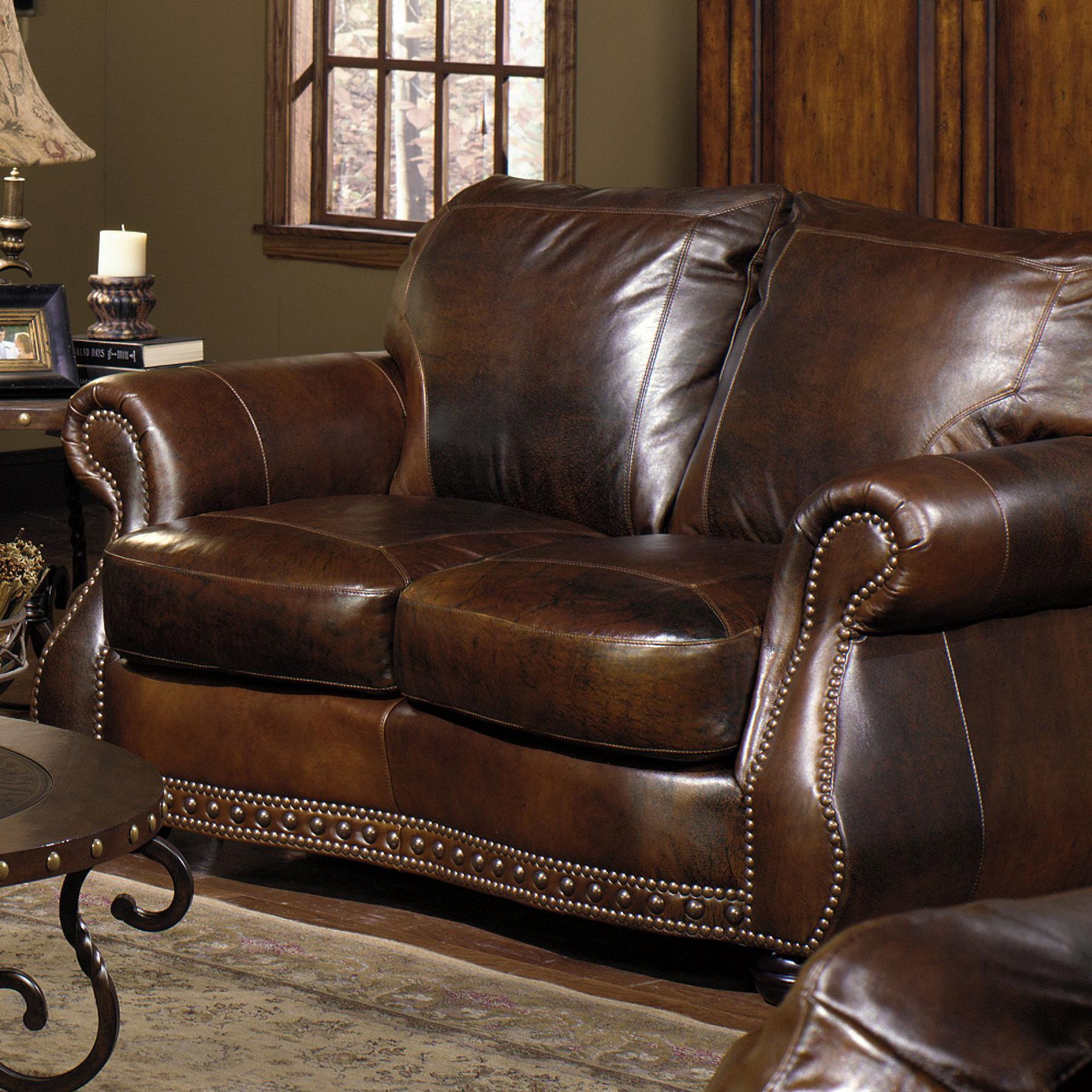 Brown Real Leather Couch 8755 Loveseat W Nail Head Trimming By Usa Premium Leather At Miskelly Furniture