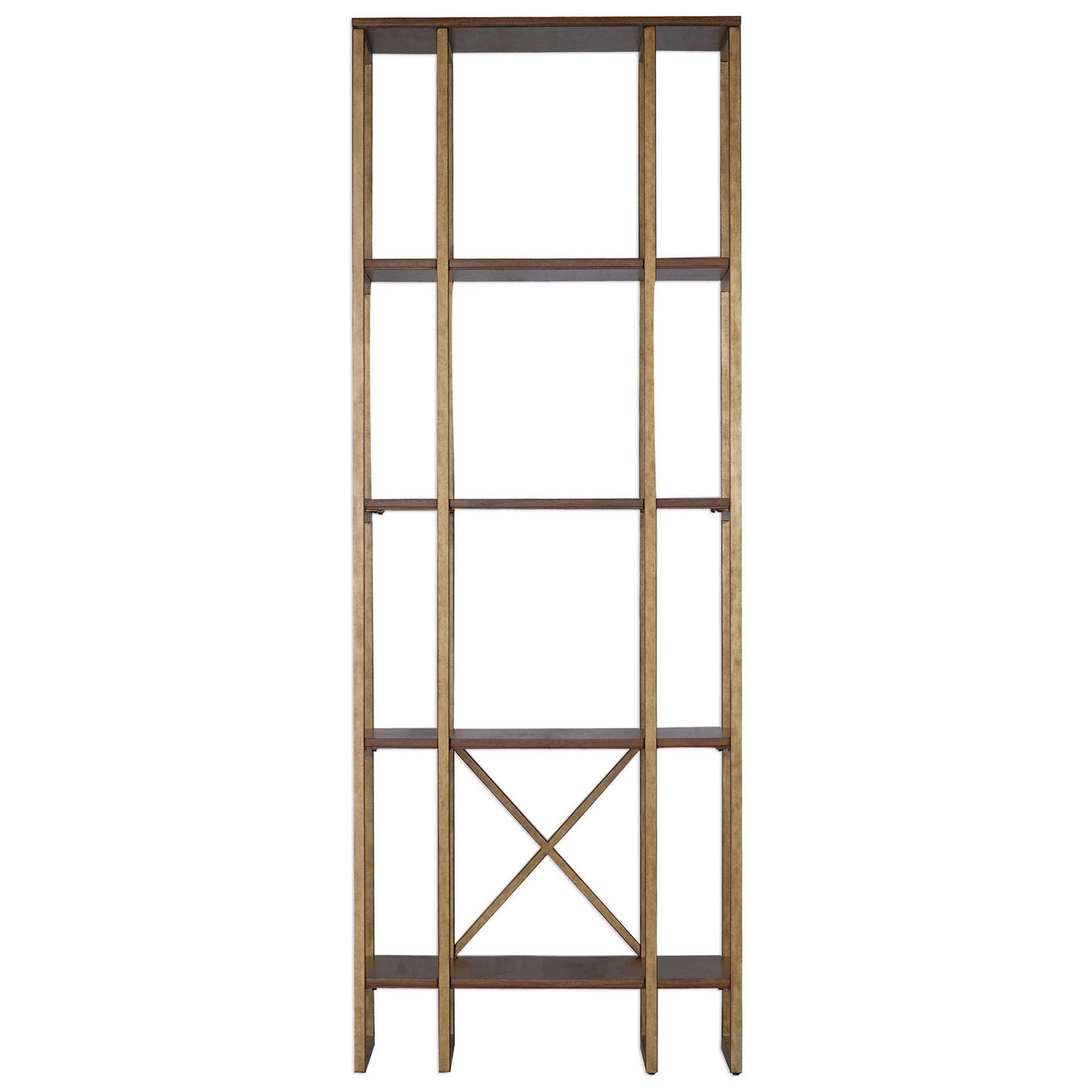 Etagere Metal Accent Furniture Bookcases Karishma Antique Gold Etagere By Uttermost At Rotmans