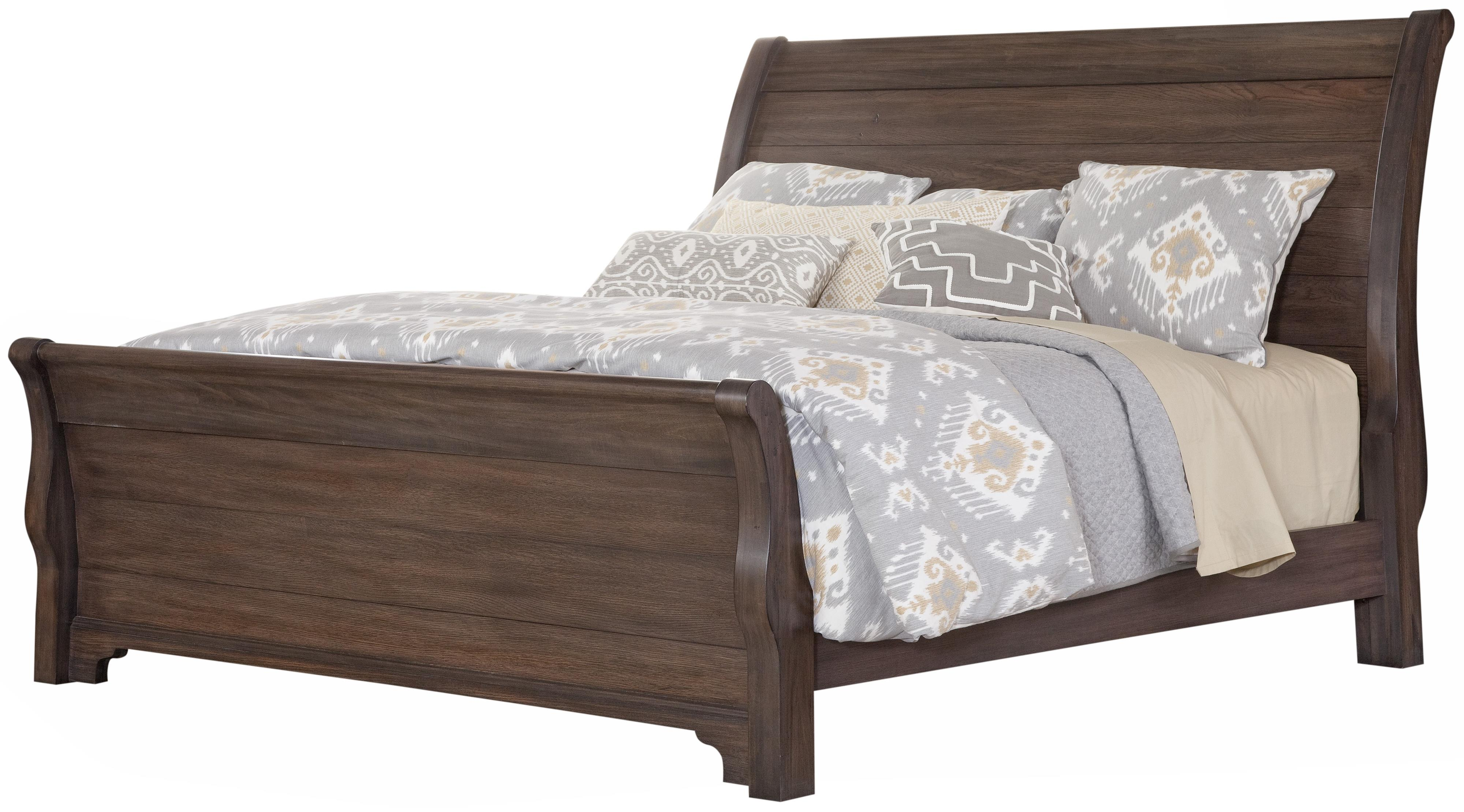 Sleigh Bed Headboard Whiskey Barrel Distressed Queen Sleigh Bed With Solid Wood Planks By Vaughan Bassett At Becker Furniture World