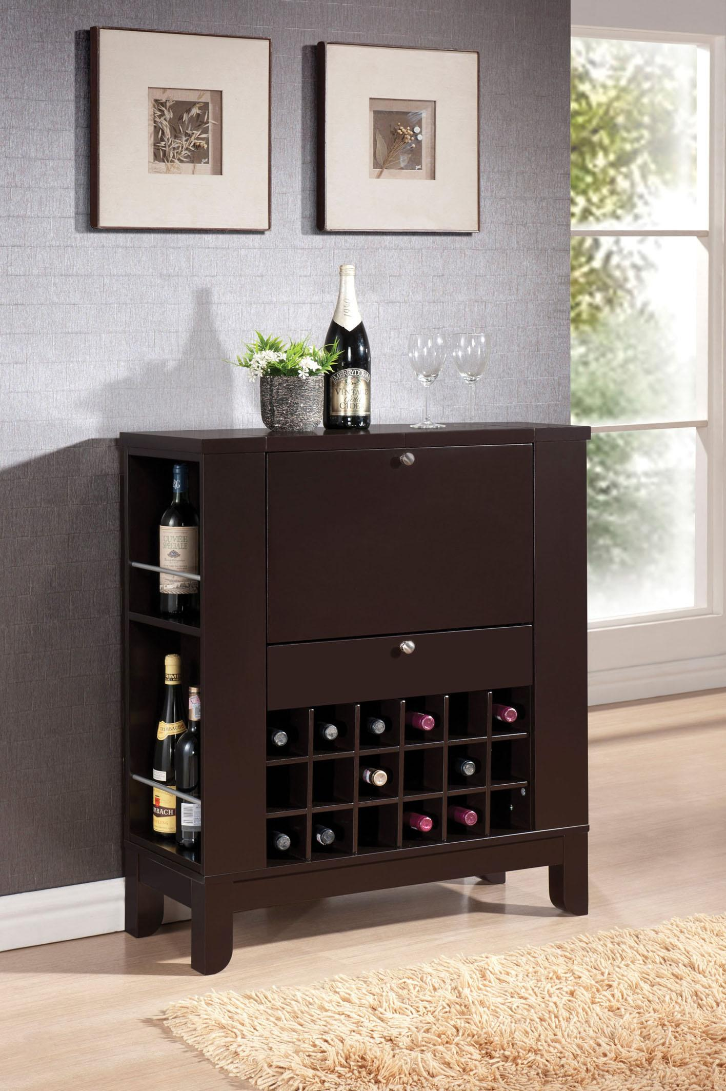 Modern Wine Rack Furniture Acme Furniture Nelson Contemporary Wine Bar W Bottle