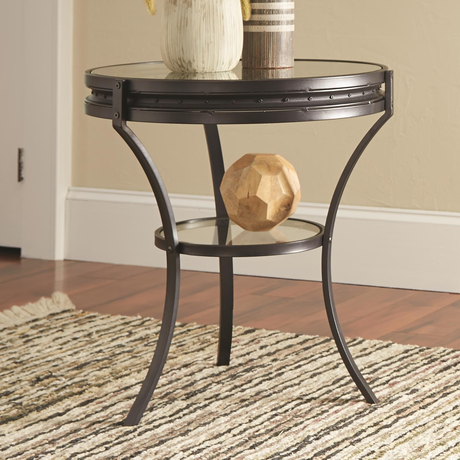 Round Industrial End Table Coaster 70521 705217 Round Industrial End Table With Glass