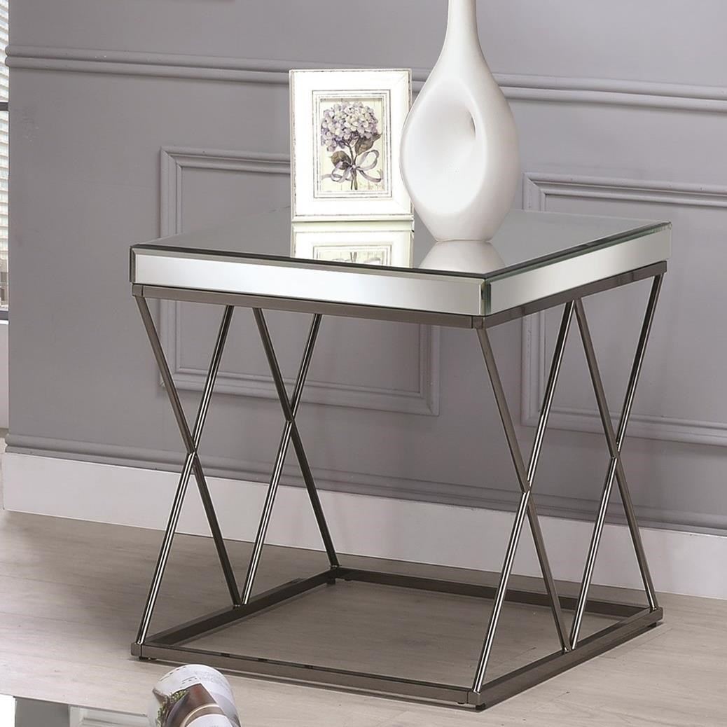 End Tables With Metal Legs Coaster 70547 Contemporary Mirrored End Table With Metal