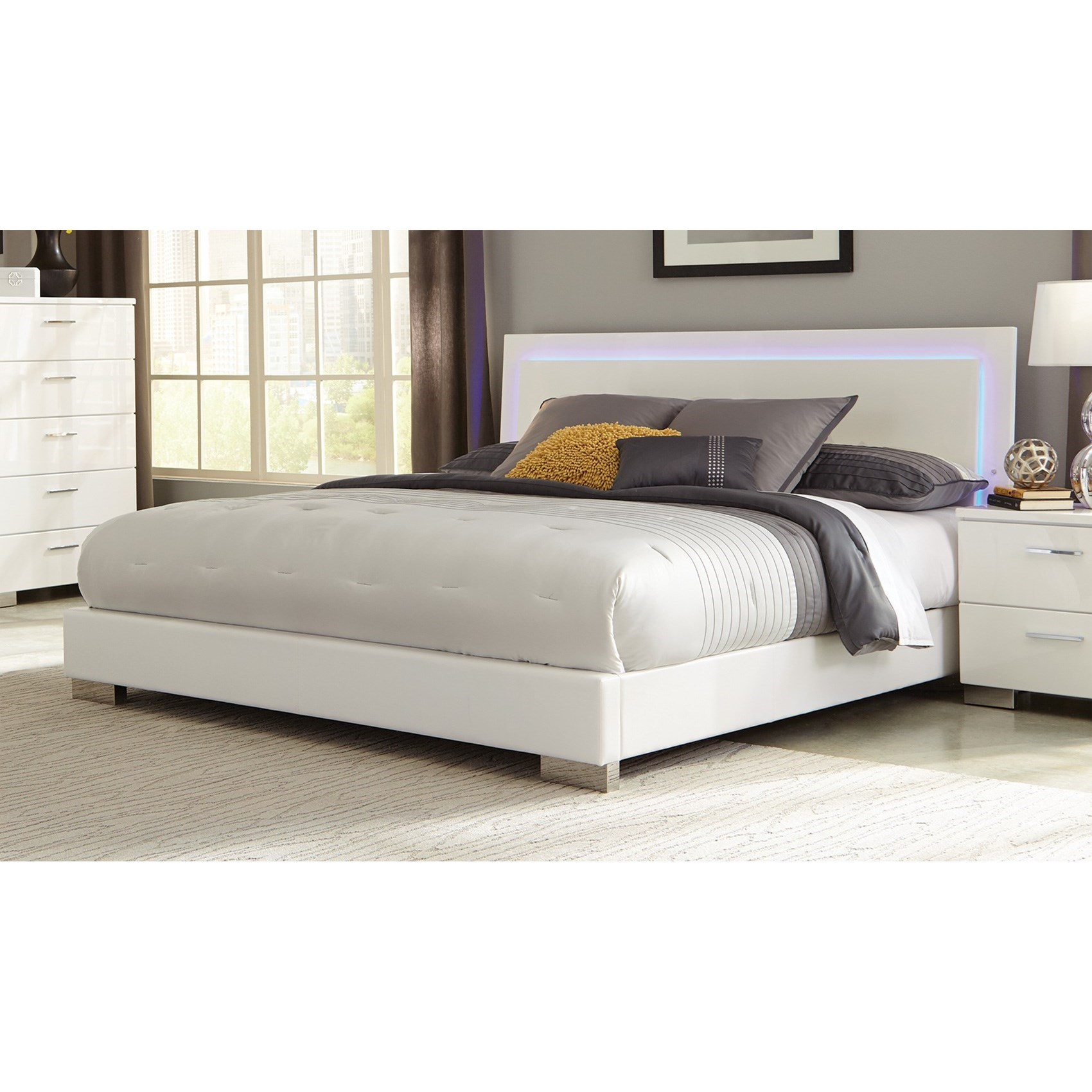 Very Low Platform Bed Coaster Felicity 203500q Queen Low Profile Bed With Led