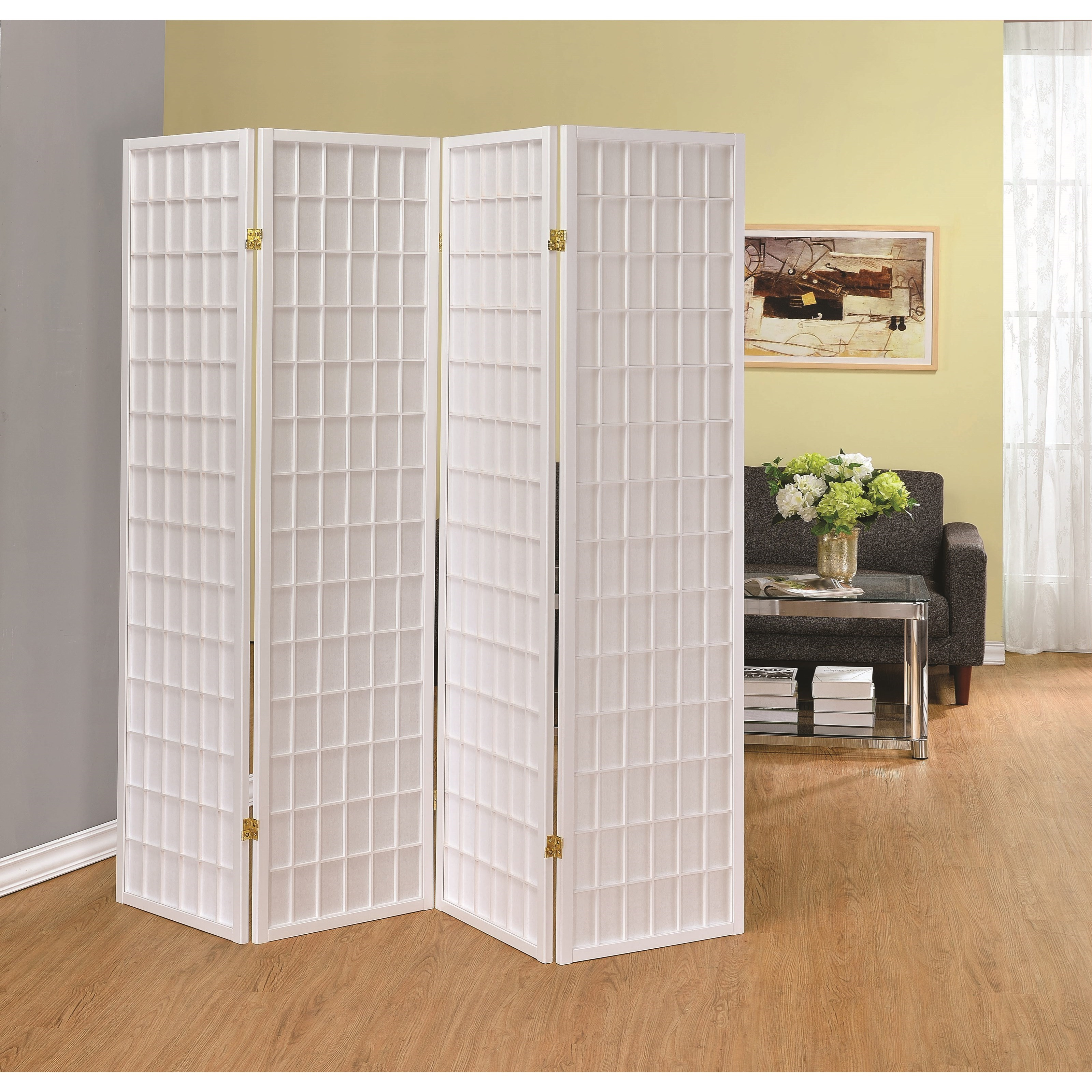 Room Divider Screens Coaster Folding Screens 902626 Four Panel White Folding