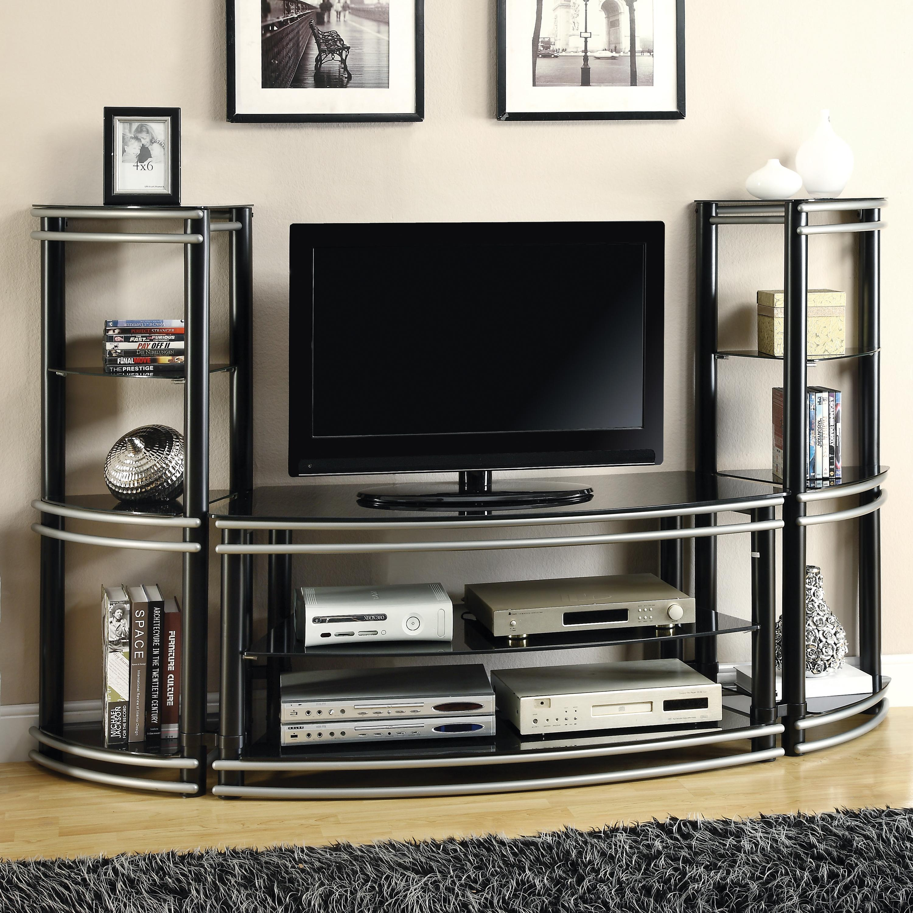 Entertainment Units Online Coaster Entertainment Units Demilune Black Silver Finish