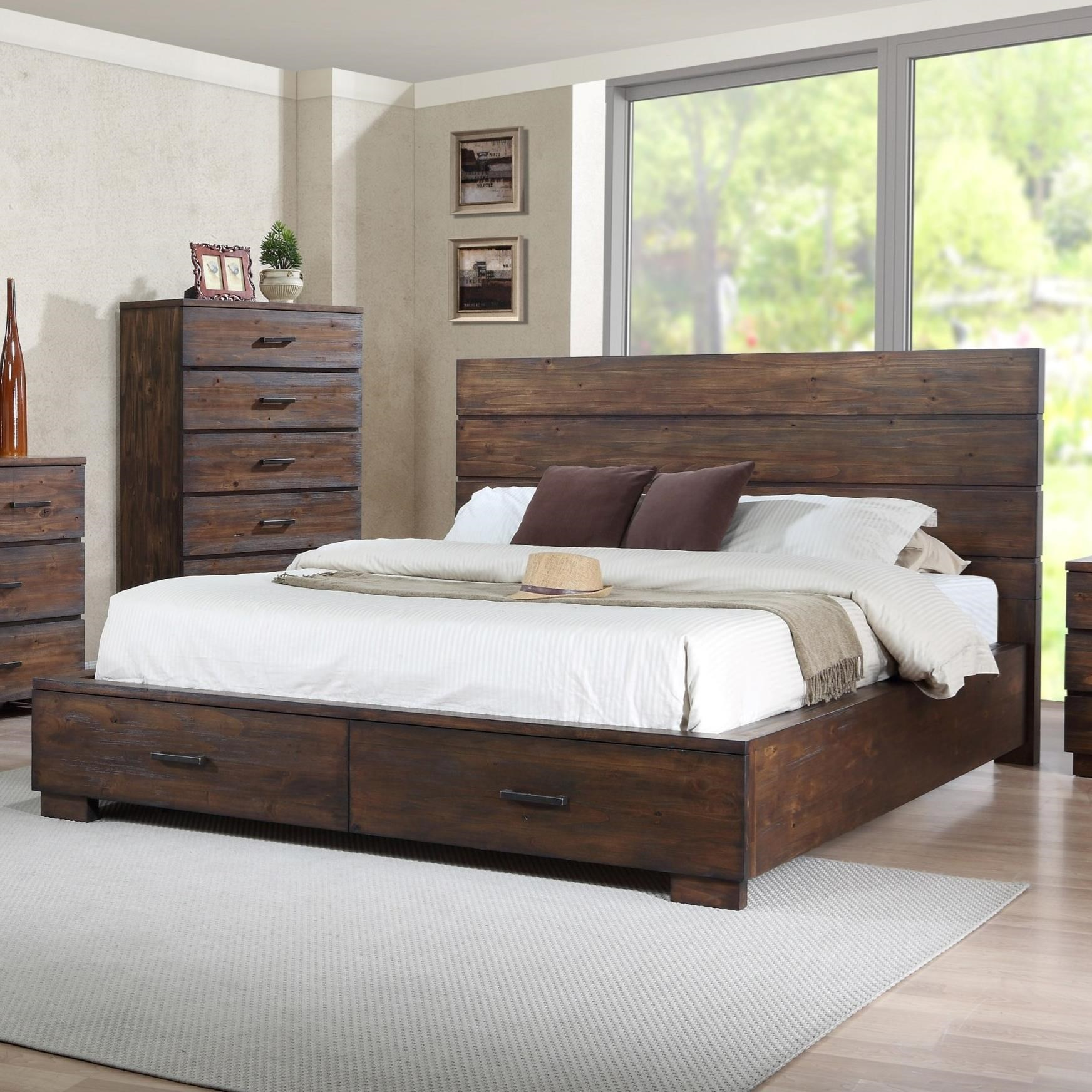 Bed Low Profile Crown Mark Cranston King Low Profile Bed With Footboard