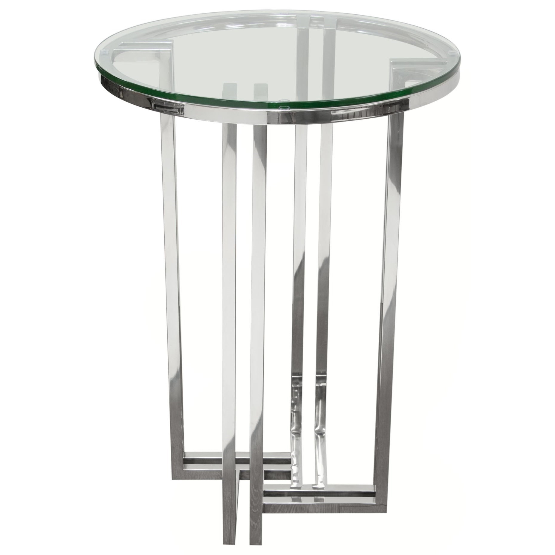 Round Glass Top End Tables Diamond Sofa Deko Dekodess Stainless Steel Round Accent