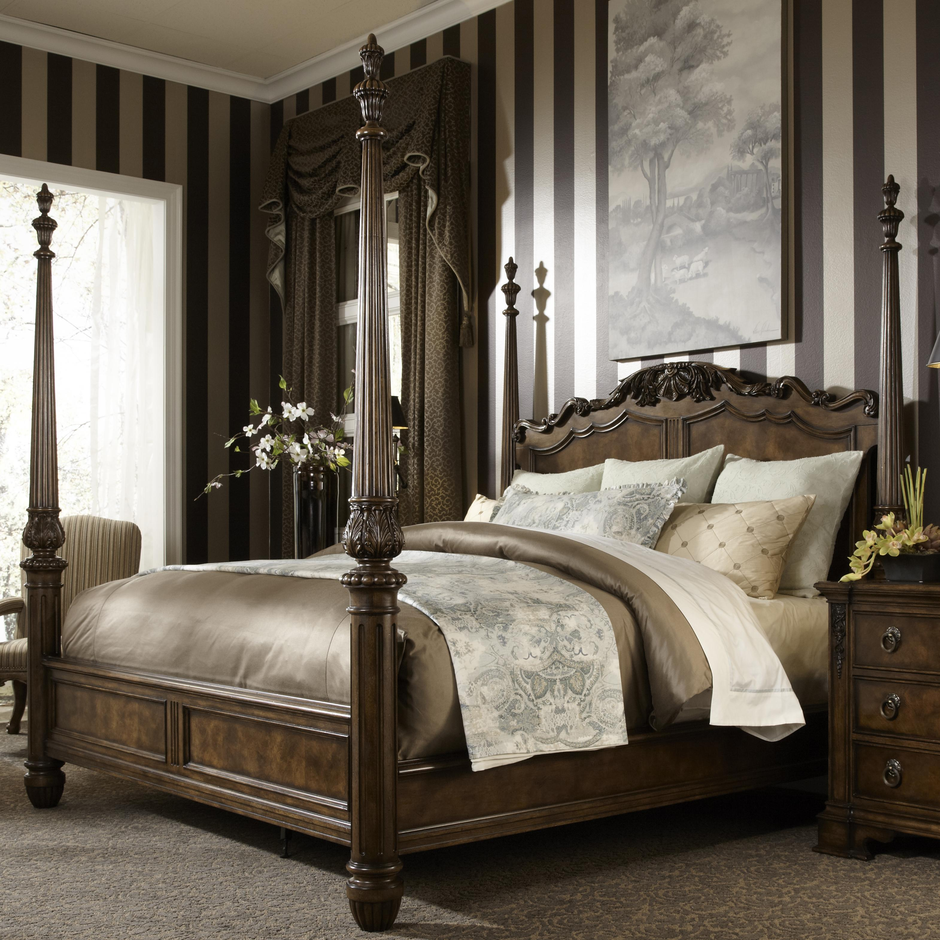 High Poster Bed King King Traditional Antique Style Four Poster Bed