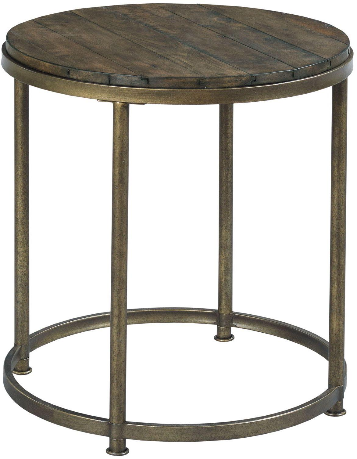 Circular End Tables Hammary Leone Round End Table With Antique Brass Base