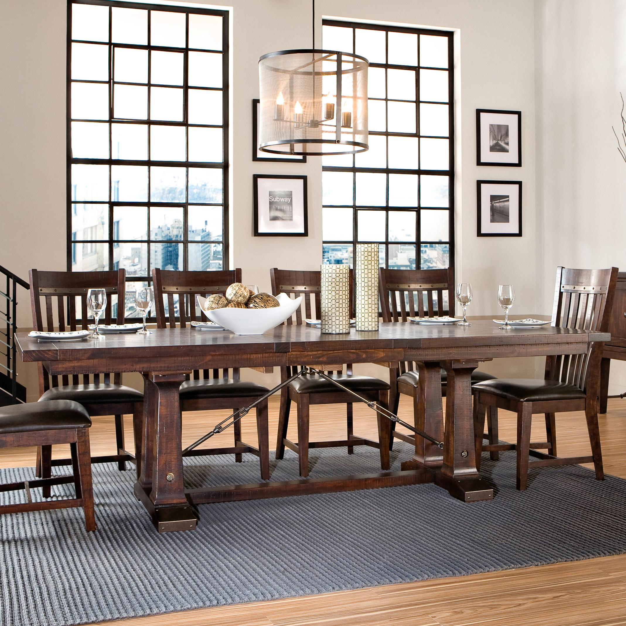 Dining Table Slides Intercon Hayden Trestle Dining Table With Metal Table