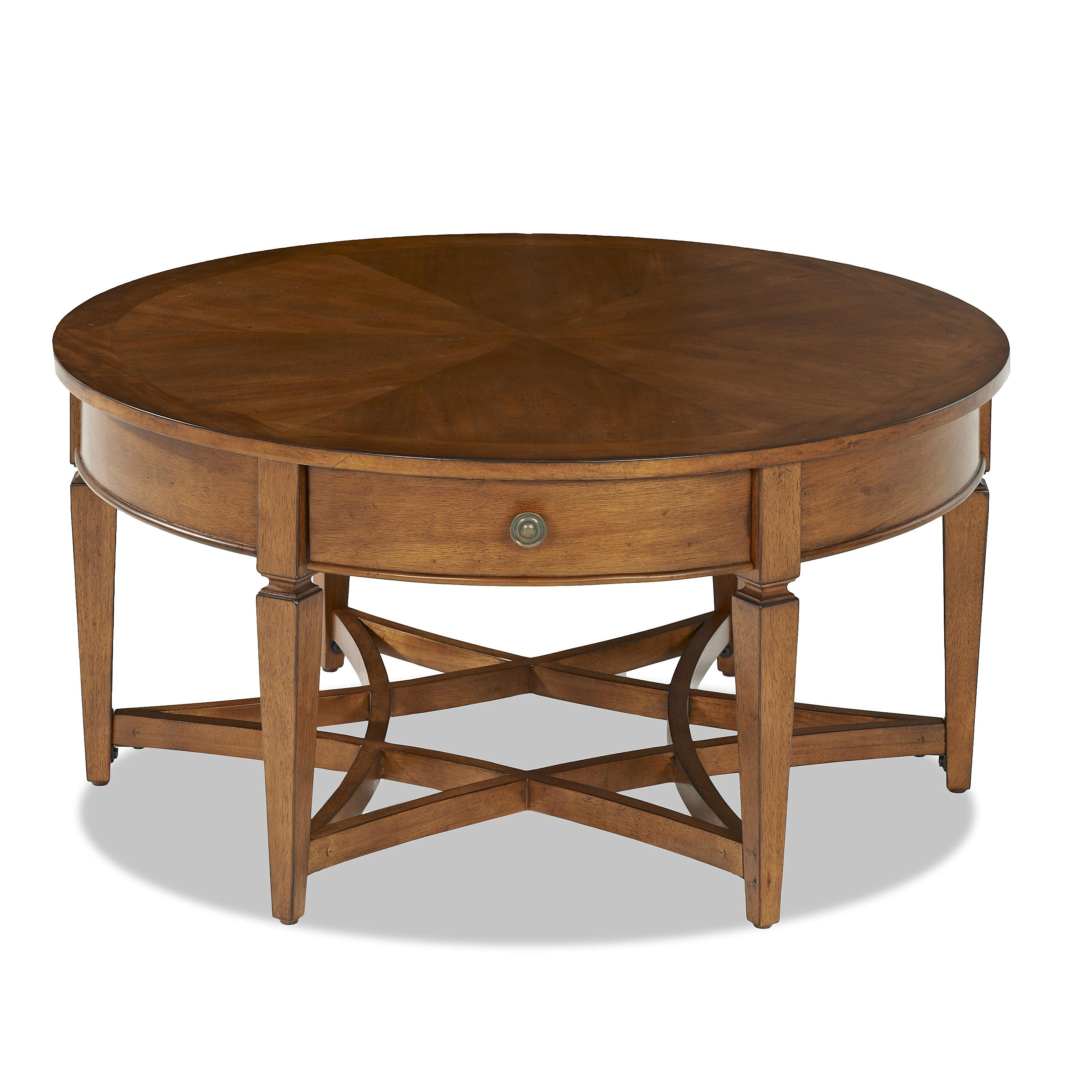 Round Coffee Table With Drawers Worthington Round Cocktail Table With 1 Drawer Rotmans