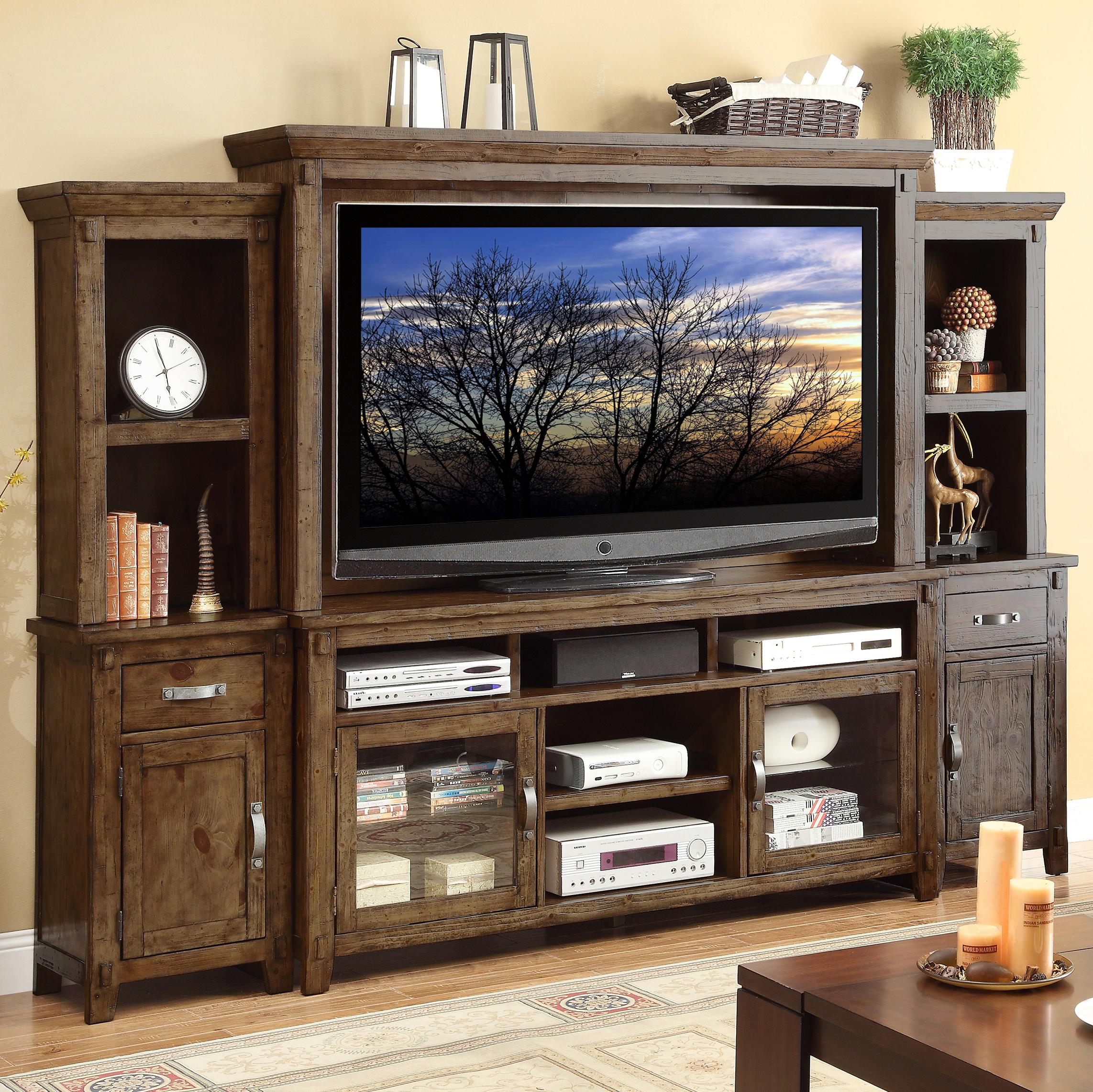 Pine Entertainment Unit Vendor 1356 Restoration Zrst 1000 Large Rustic Casual Wall