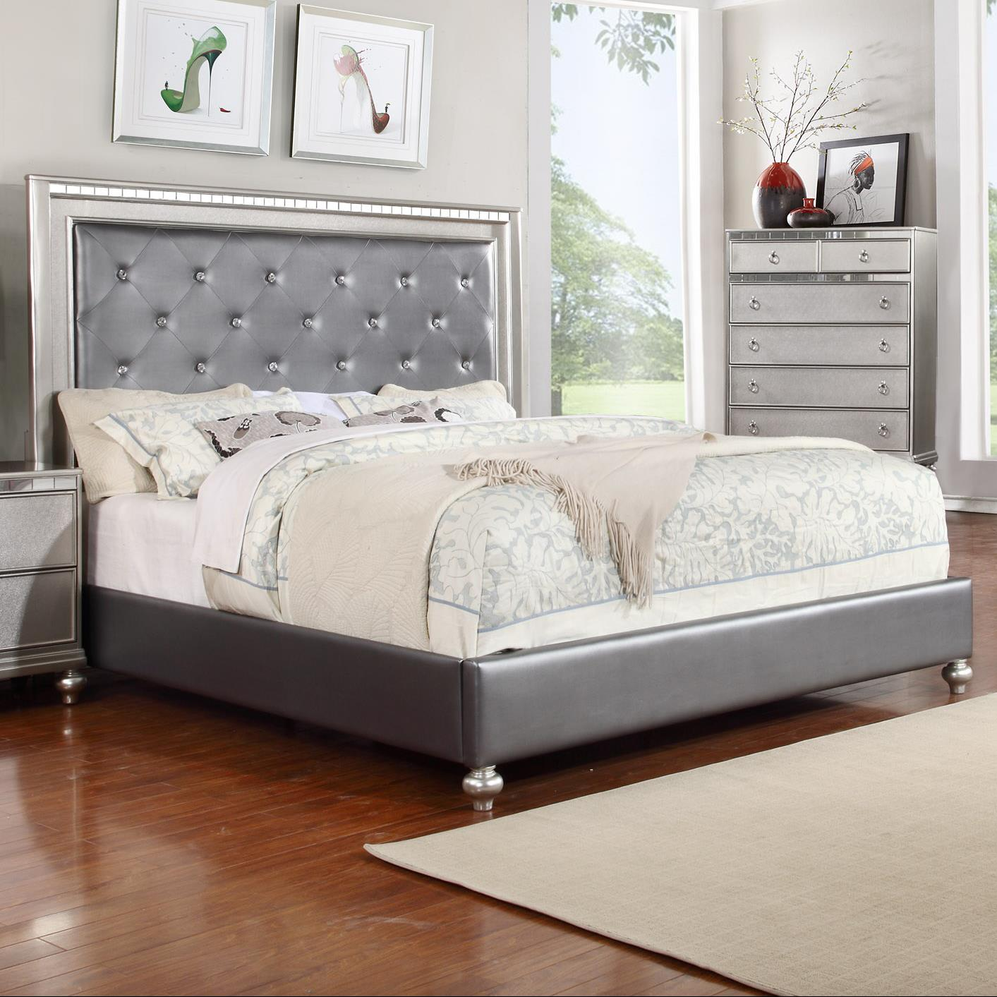 Accent Bed Glam Queen Upholstered Panel Bed With Rhinestone Accent