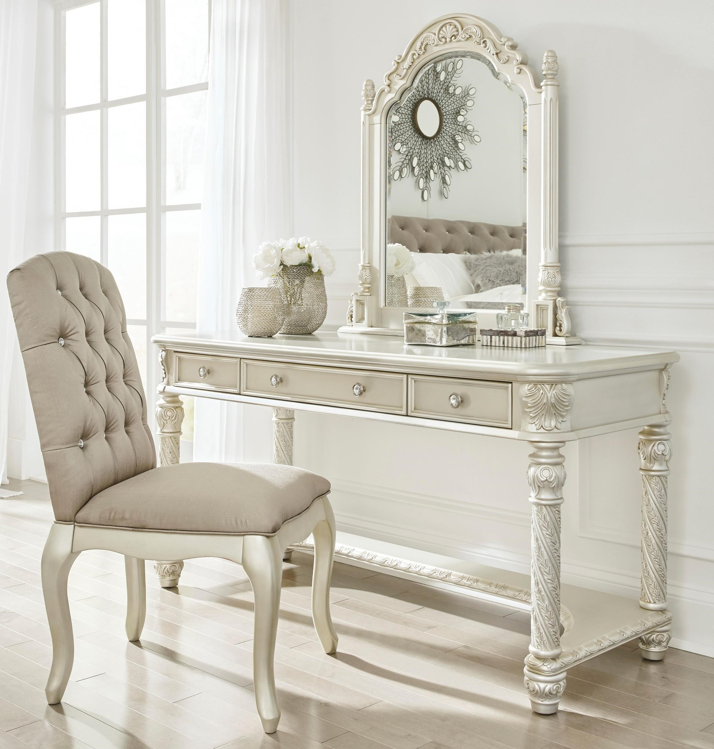 Vanity Set Chair Signature Design By Ashley Cassimore Traditional Vanity