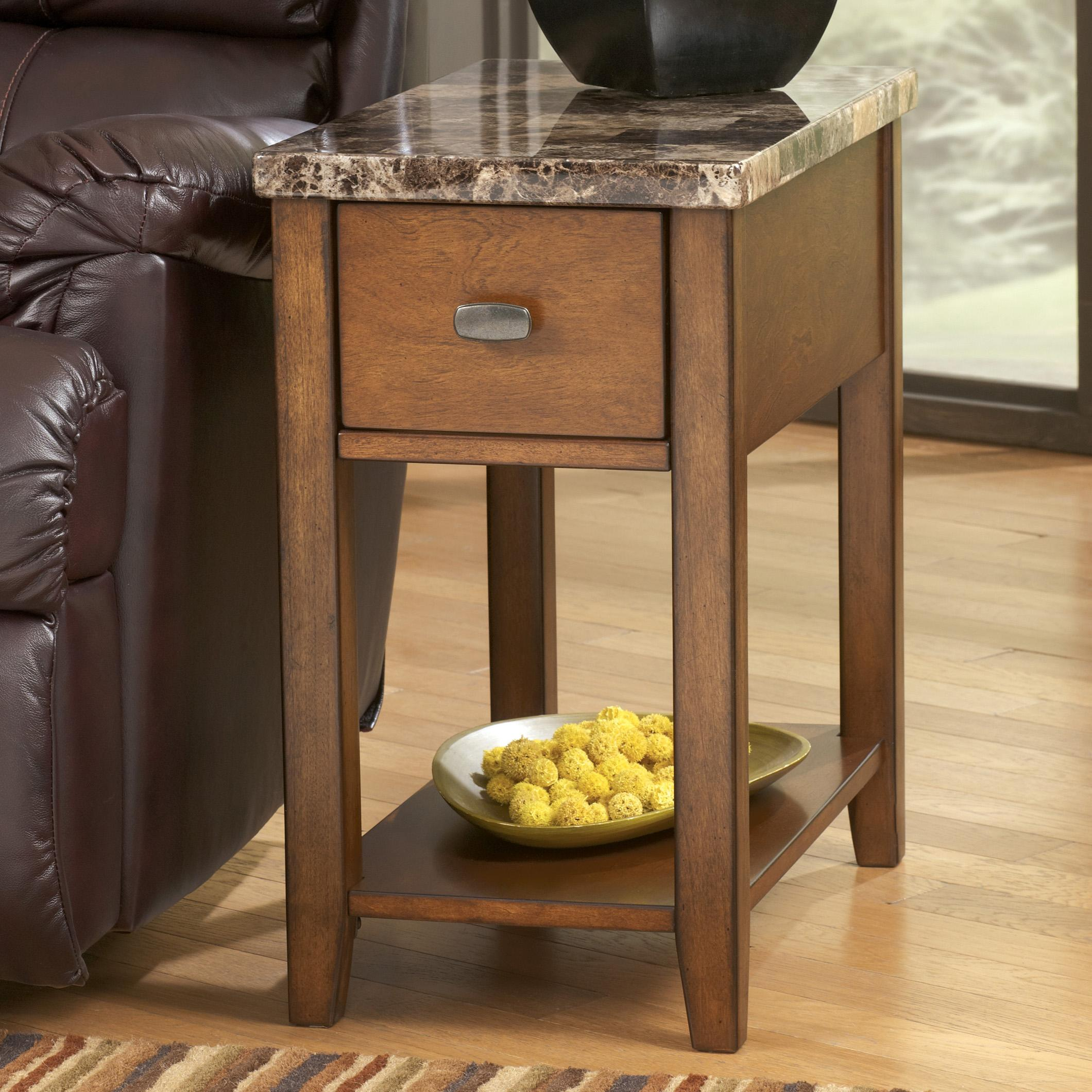 Modern Chairside Table Signature Design By Ashley Breegin T007 158 Medium Brown
