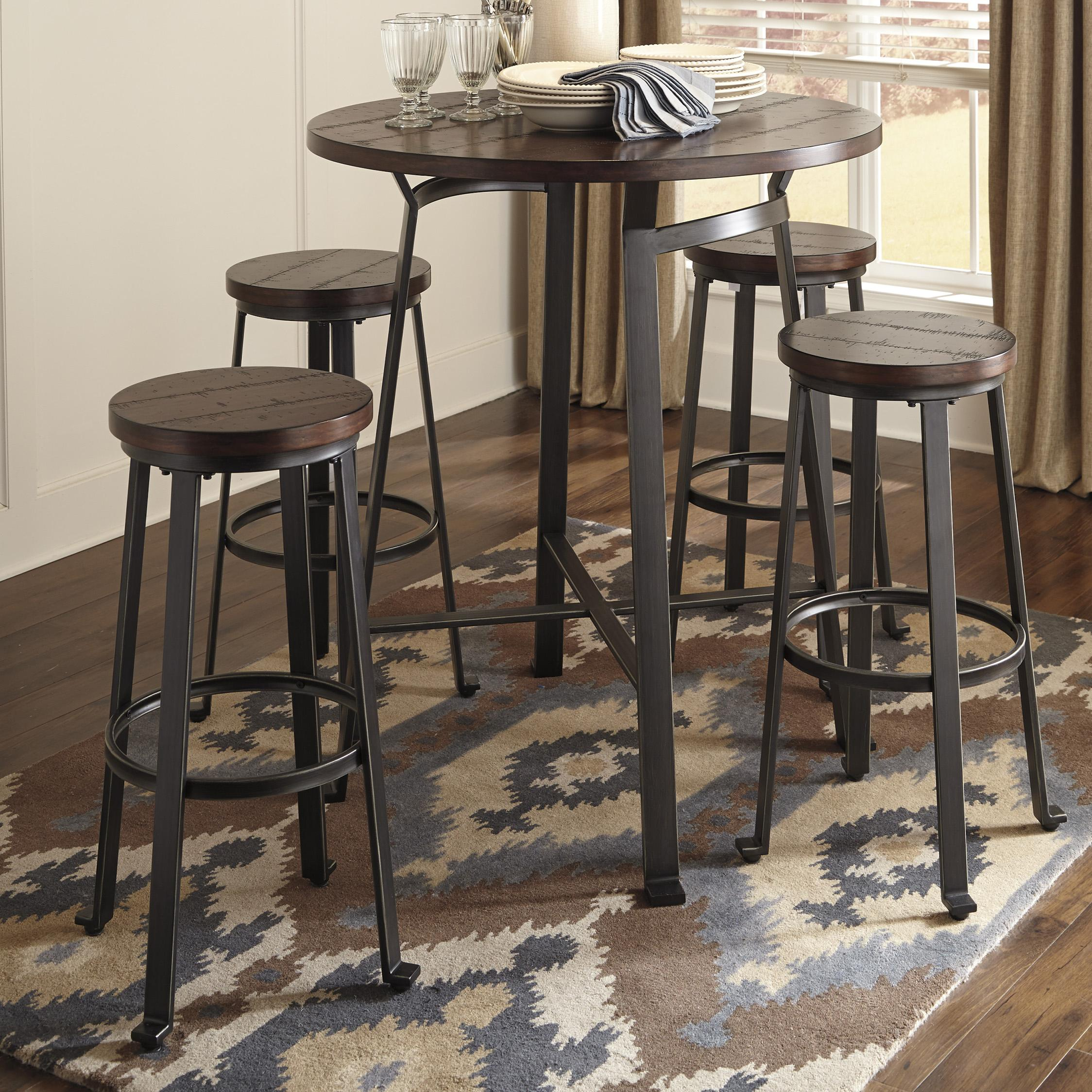Bar Table Set Ashley Signature Design Challiman 5 Piece Round Bar Table