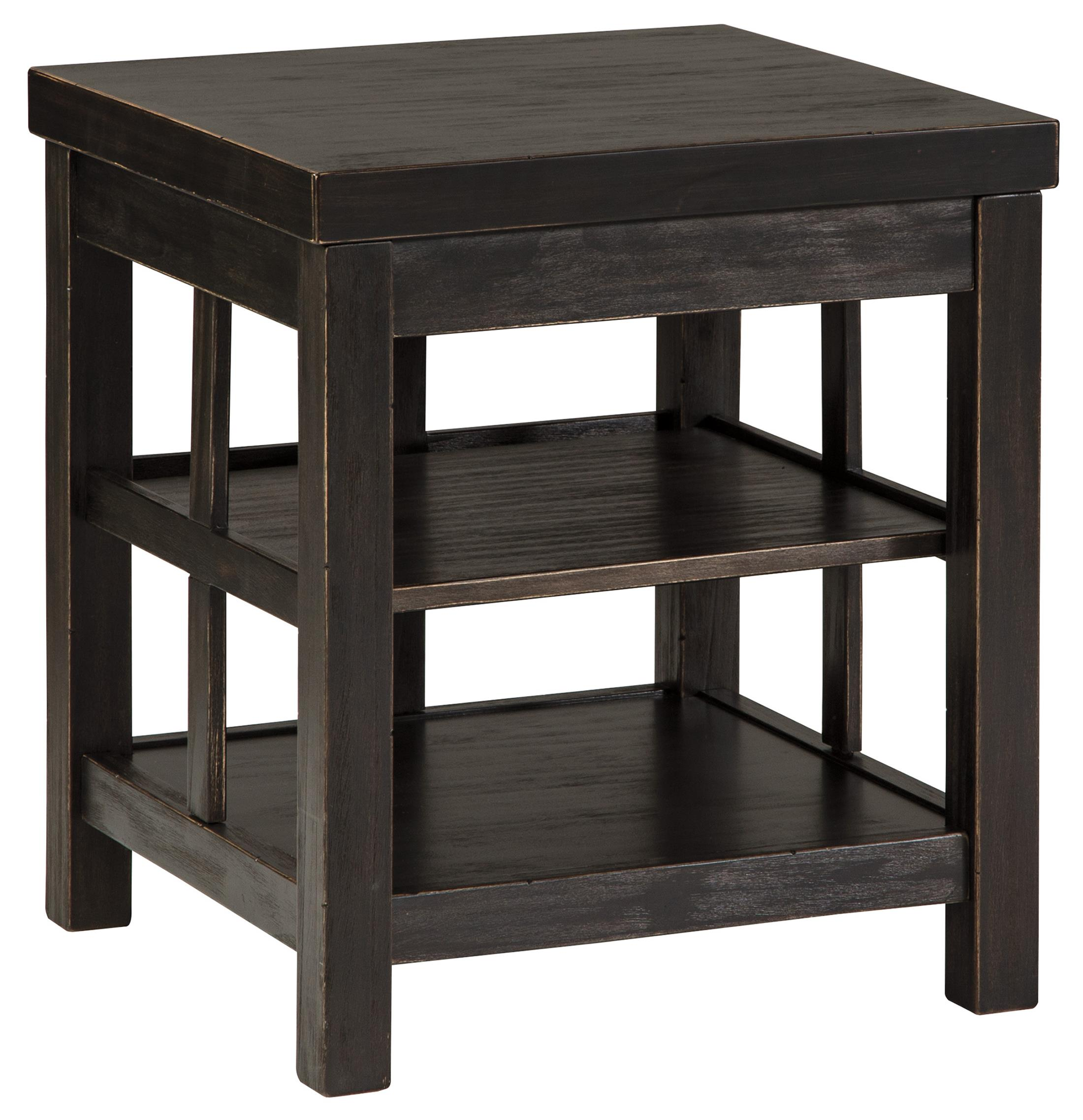 Small Black End Table Gavelston Rustic Distressed Black Square End Table With 2