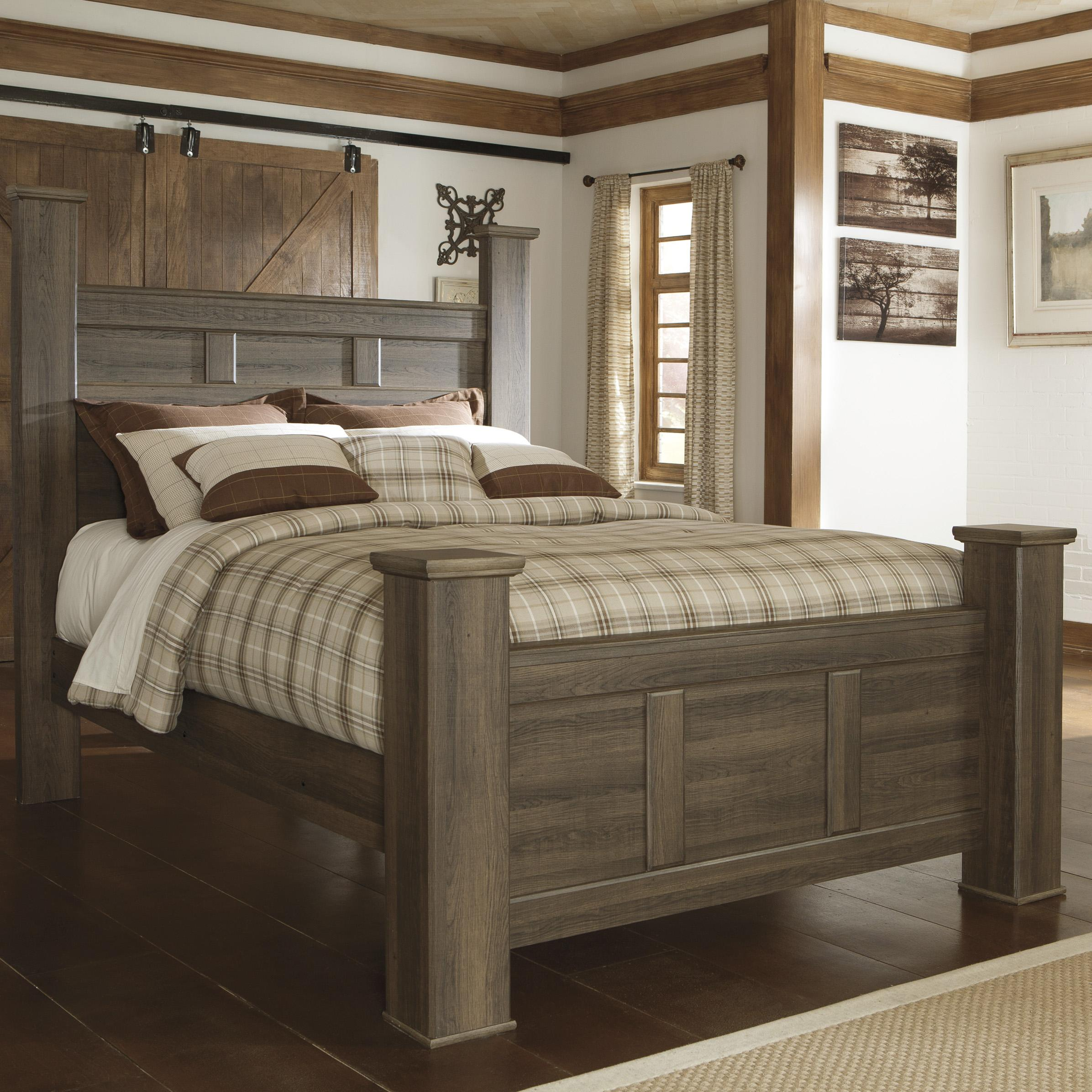 High Poster Bed King Signature Design By Ashley Juararo Transitional Queen