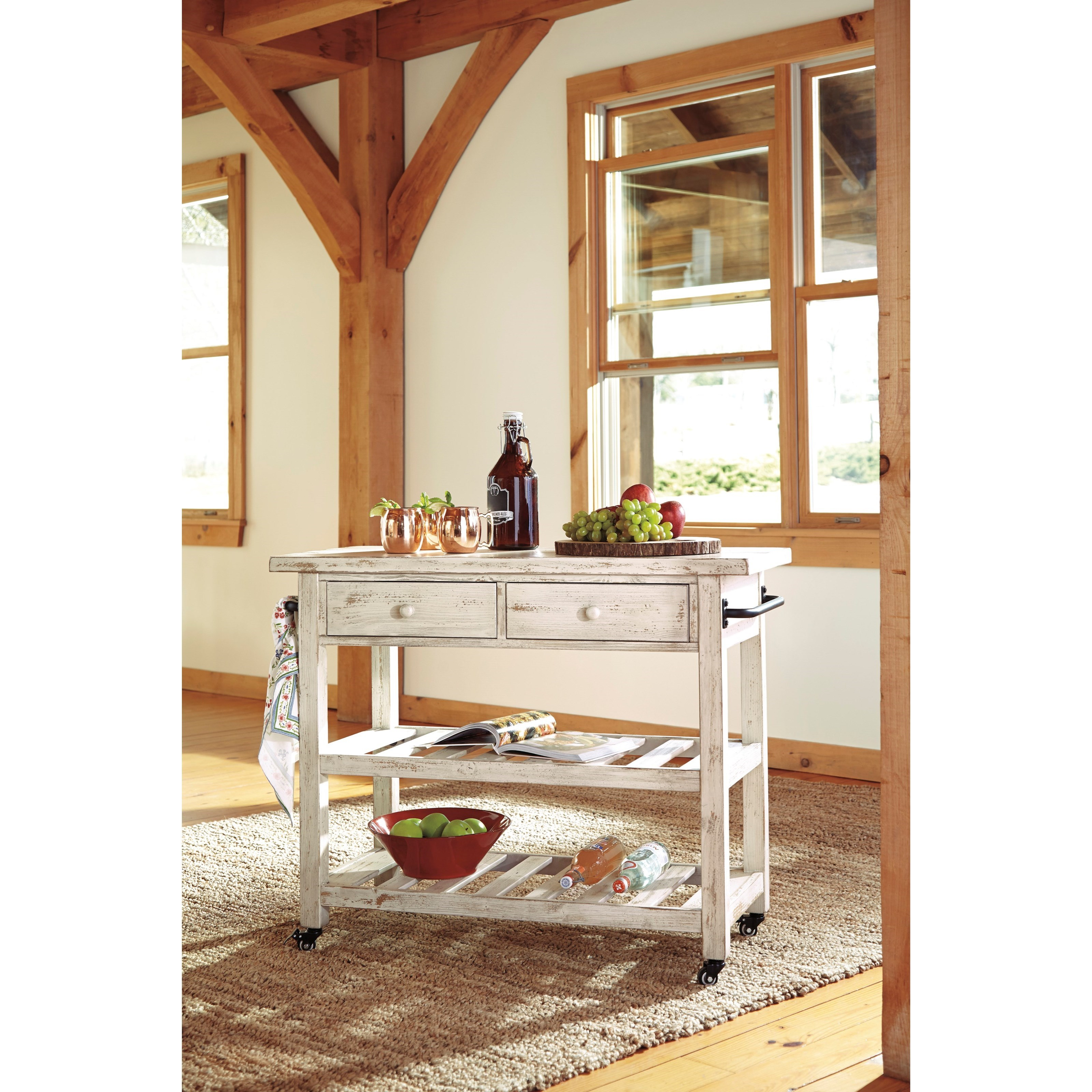 Kitchen Island With Locking Casters Signature Design By Ashley Marlijo Distressed White Finish