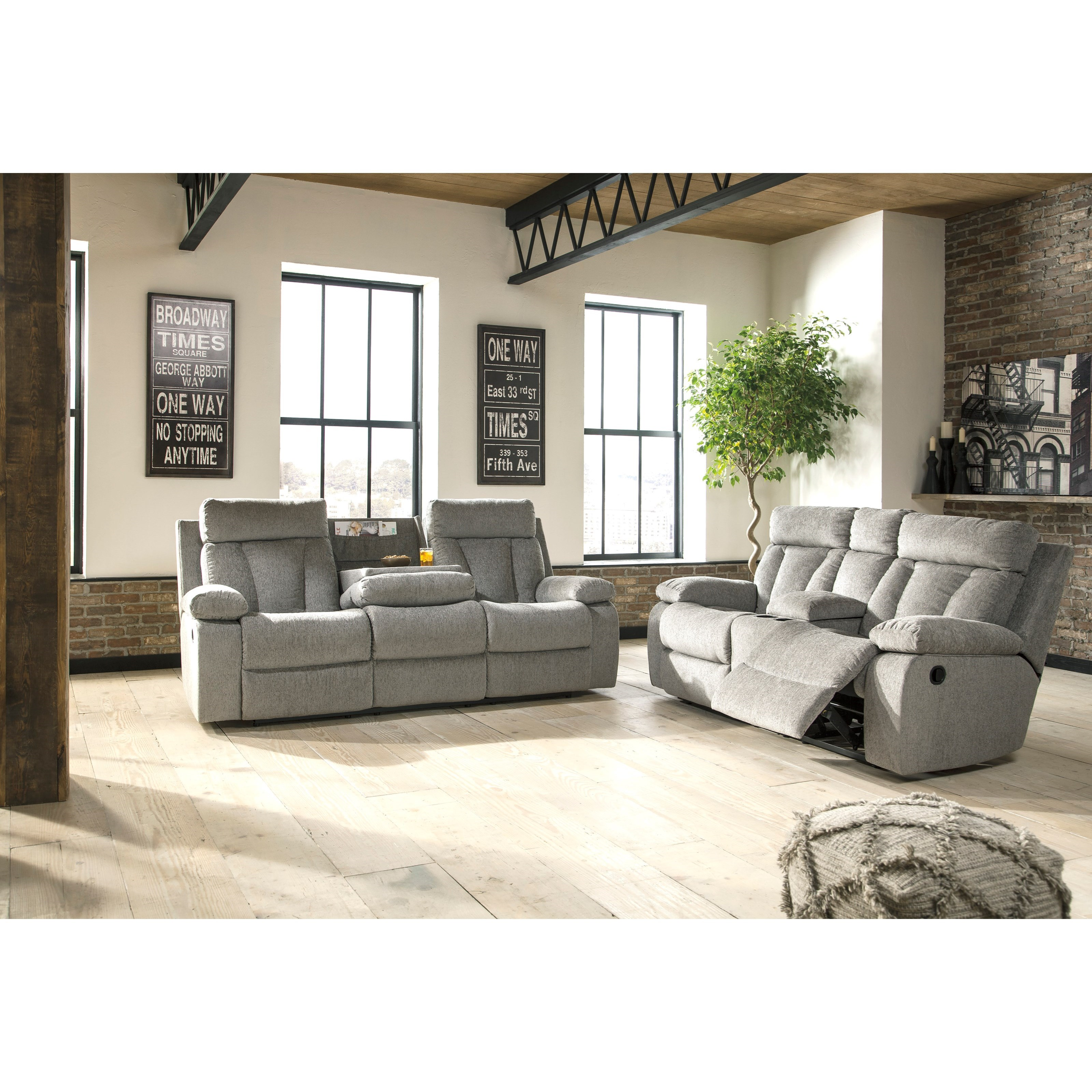 Sala Set Gray Signature Design By Ashley Mitchiner Reclining Living Room