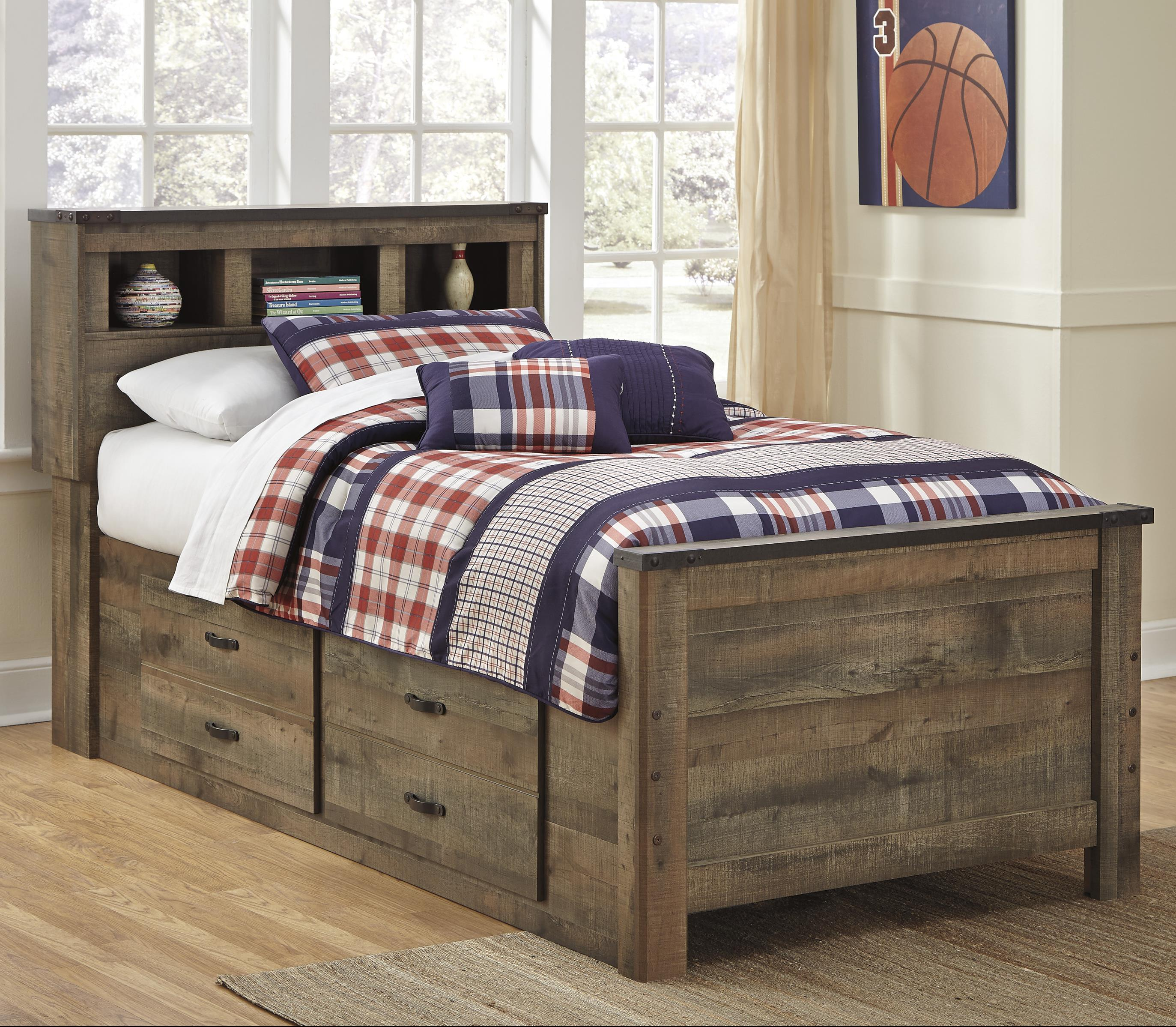 3 Twin Beds In The Space Of 1 Ashley Signature Design Trinell Rustic Look Twin Bookcase