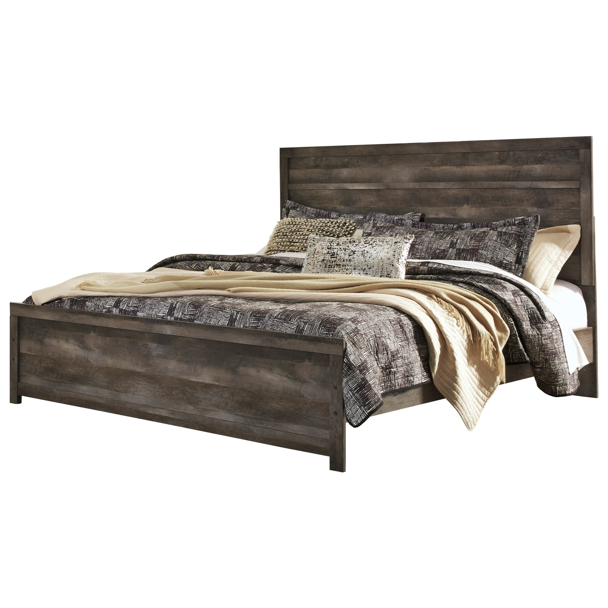 Difference Between King And Queen Bed Ashley Signature Design Wynnlow King Rustic Plank Effect
