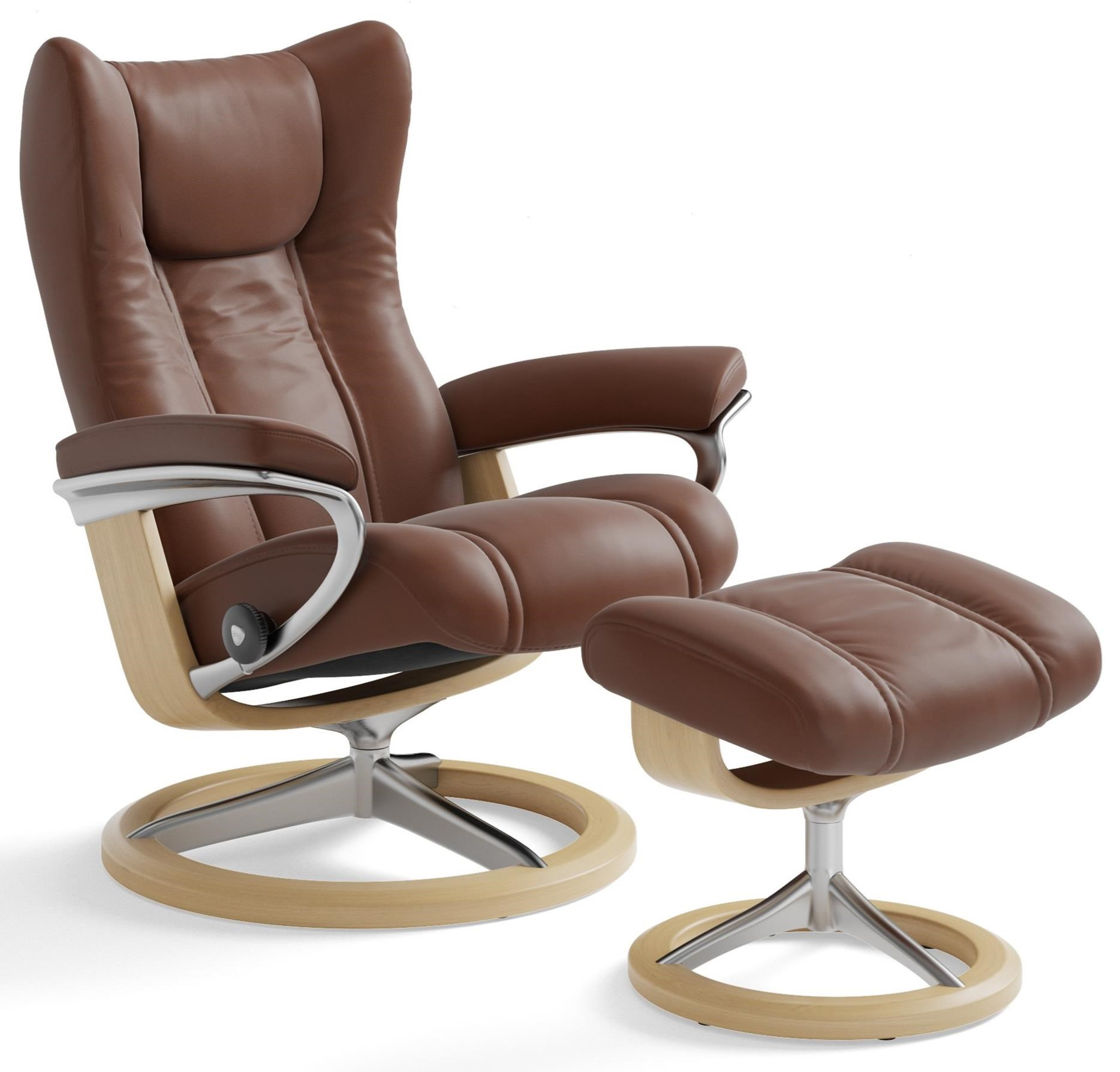 Stressless Wing Signature Sessel Stressless Wing Medium Reclining Chair And Ottoman With