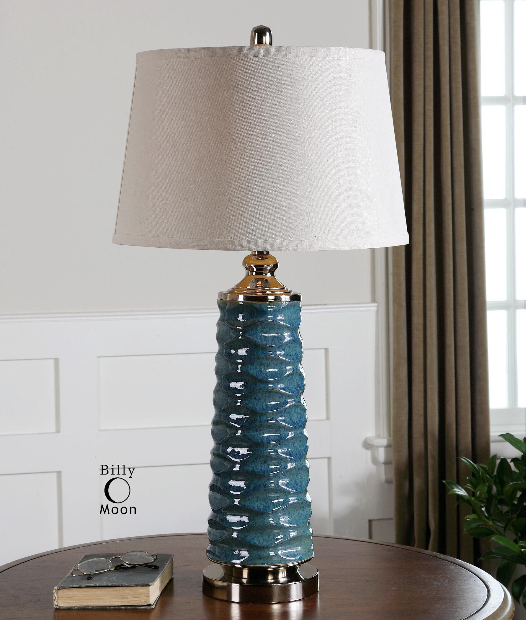 Bright Colored Table Lamps Uttermost Lamps 26567 Delavan Rust Blue Table Lamp Dunk